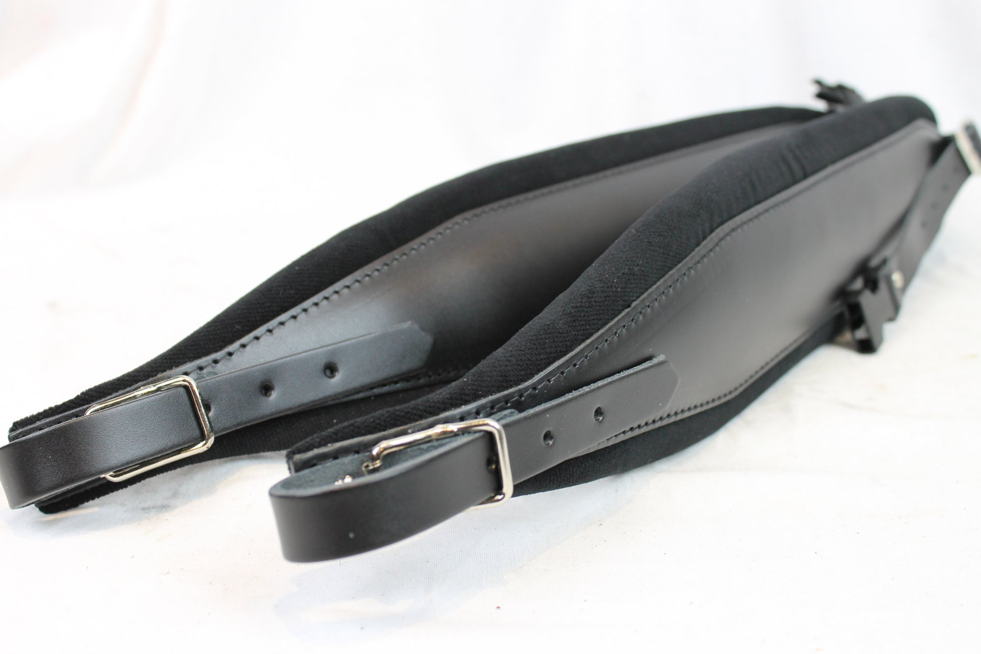 New Black Leather Velour Fuselli Accordion Shoulder Straps Width (10cm / 3.9in) Length (105~123cm / 41.3~48.4in)