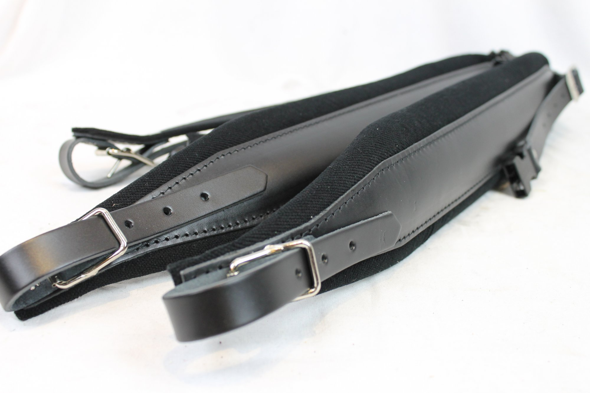 New Black Leather Velour Fuselli Accordion Shoulder Straps Width (8cm / 3.1in) Length (85~105cm / 33.5~41.3in)