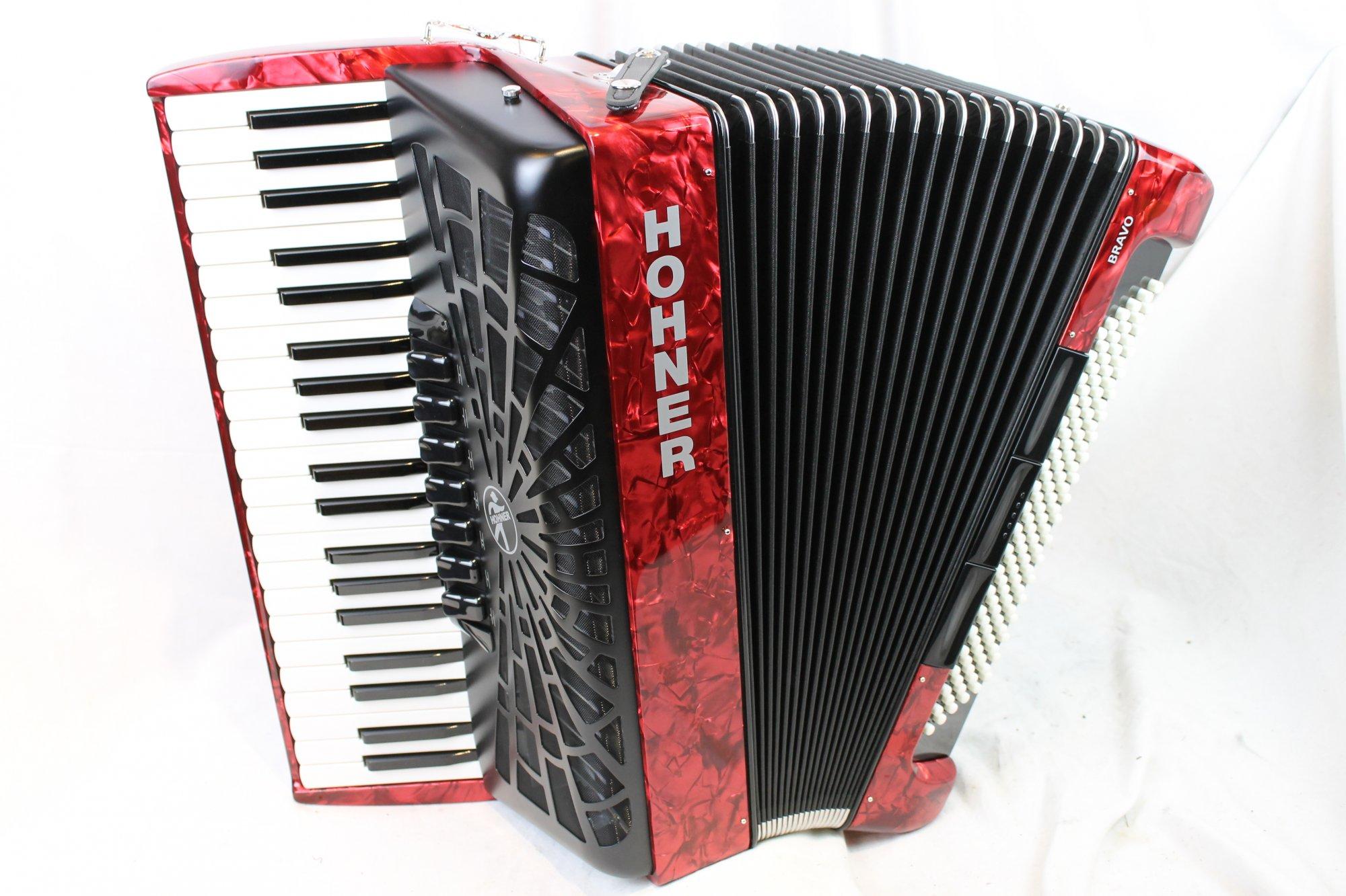 New Red Hohner Bravo III Piano Accordion LMM 41 120