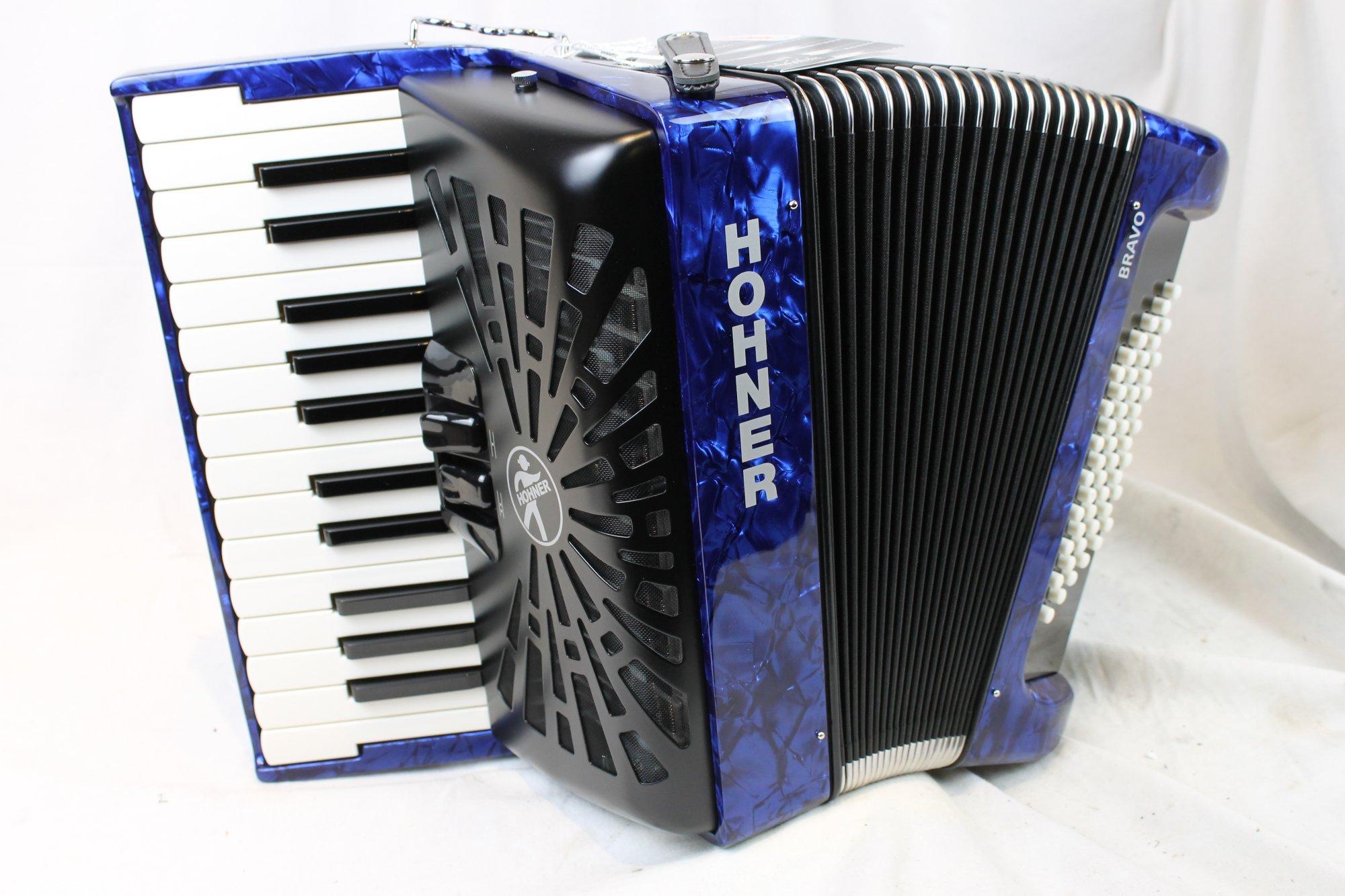 NEW Blue Hohner Bravo II Piano Accordion MM 26 48