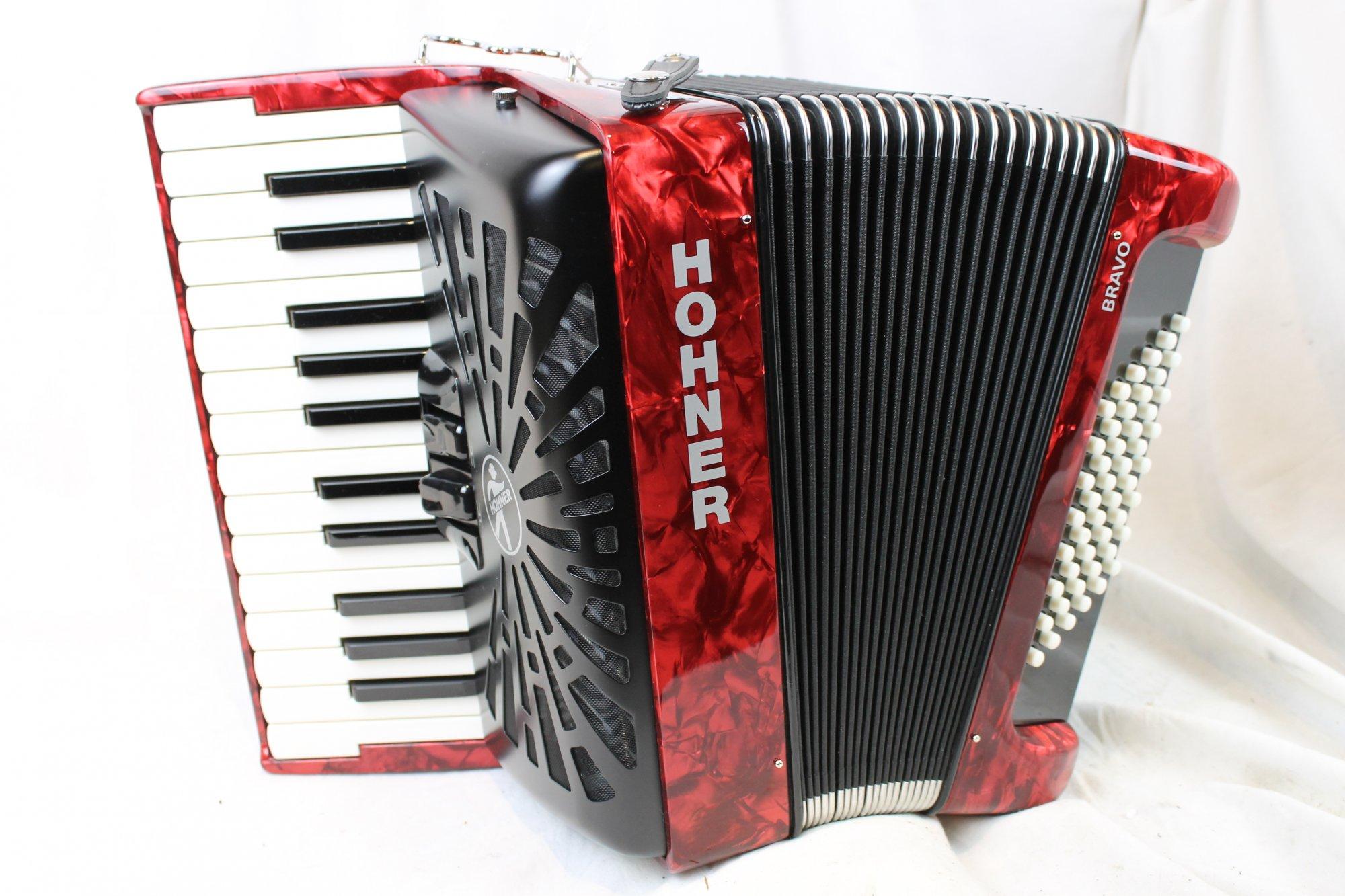 New Red Hohner Bravo II Piano Accordion MM 26 48