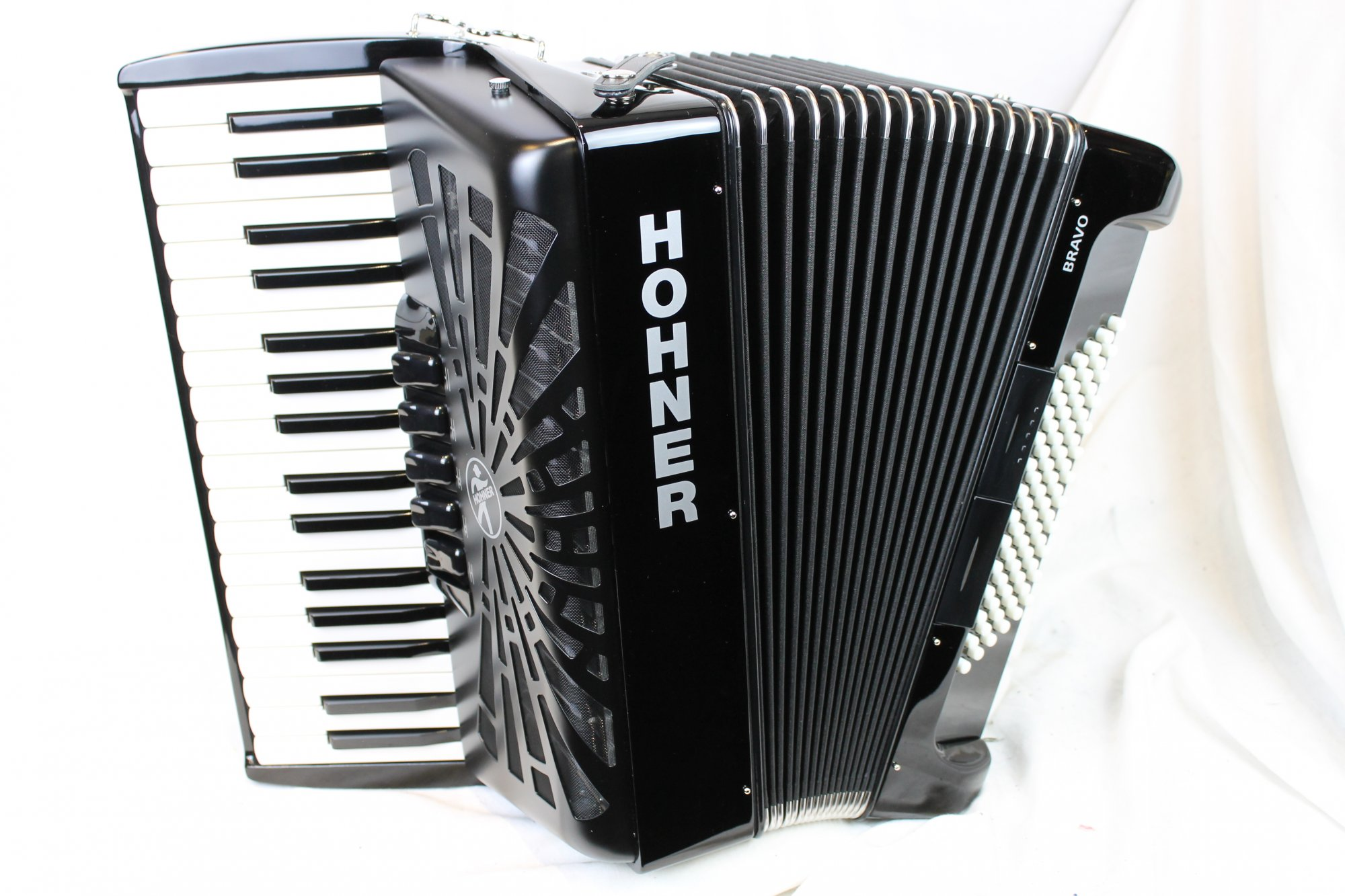 NEW Black Hohner Bravo III Piano Accordion LMM 34 72
