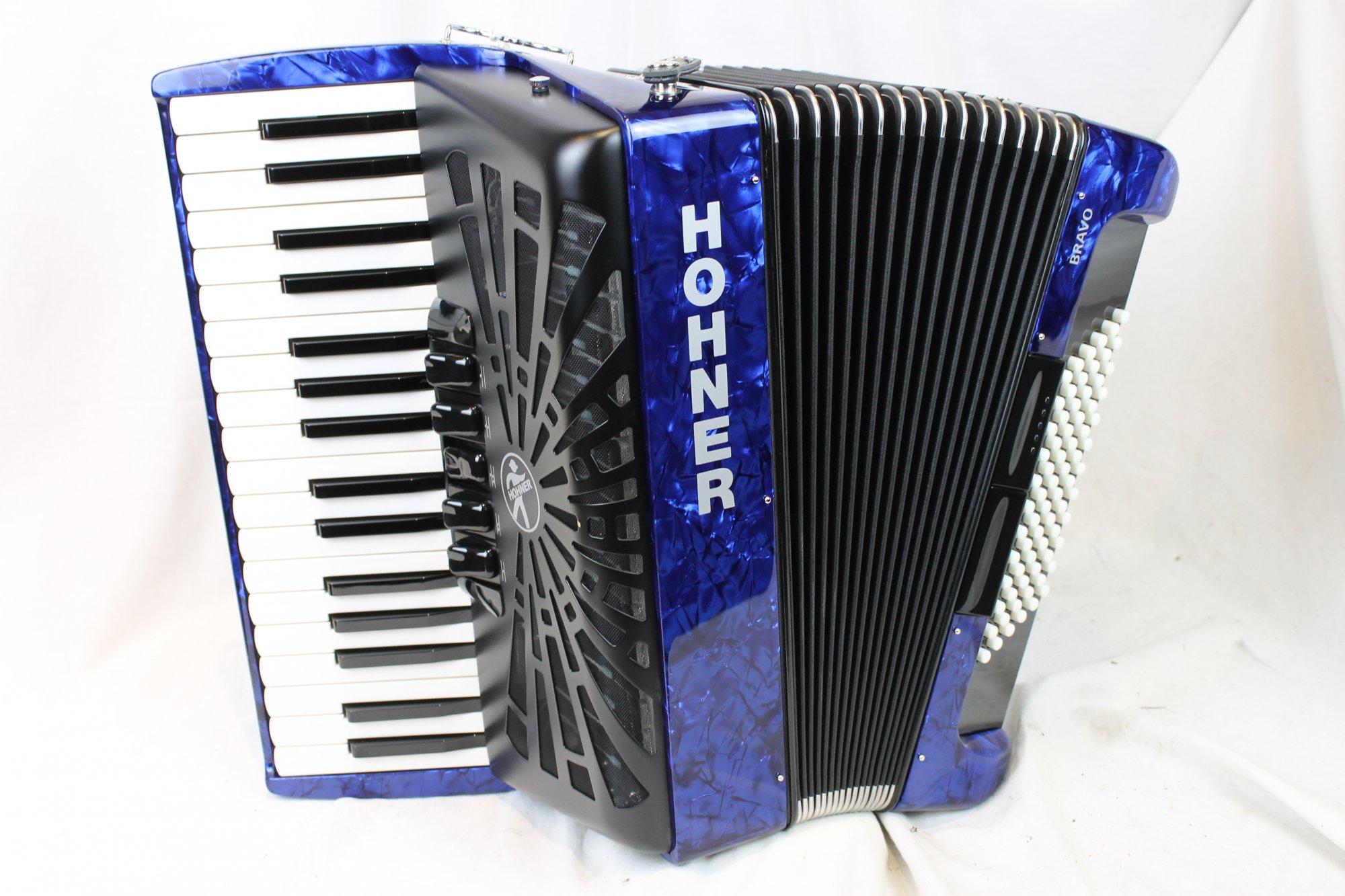 New Blue Hohner Bravo III Piano Accordion LMM 34 72