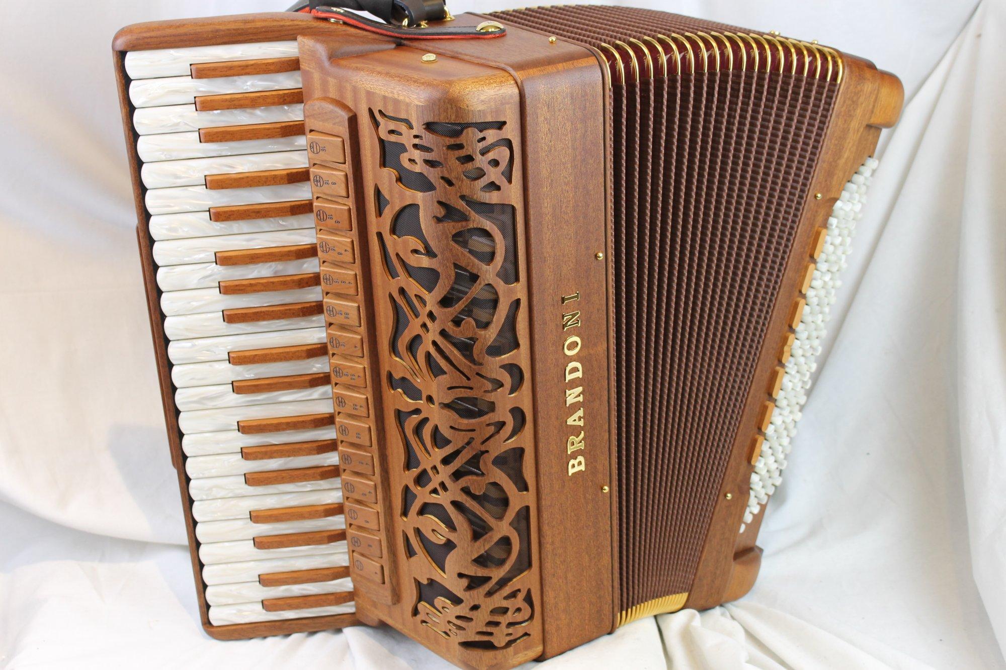NEW Mahogany Brandoni 148W Infinity Piano Accordion LMMH 41 120