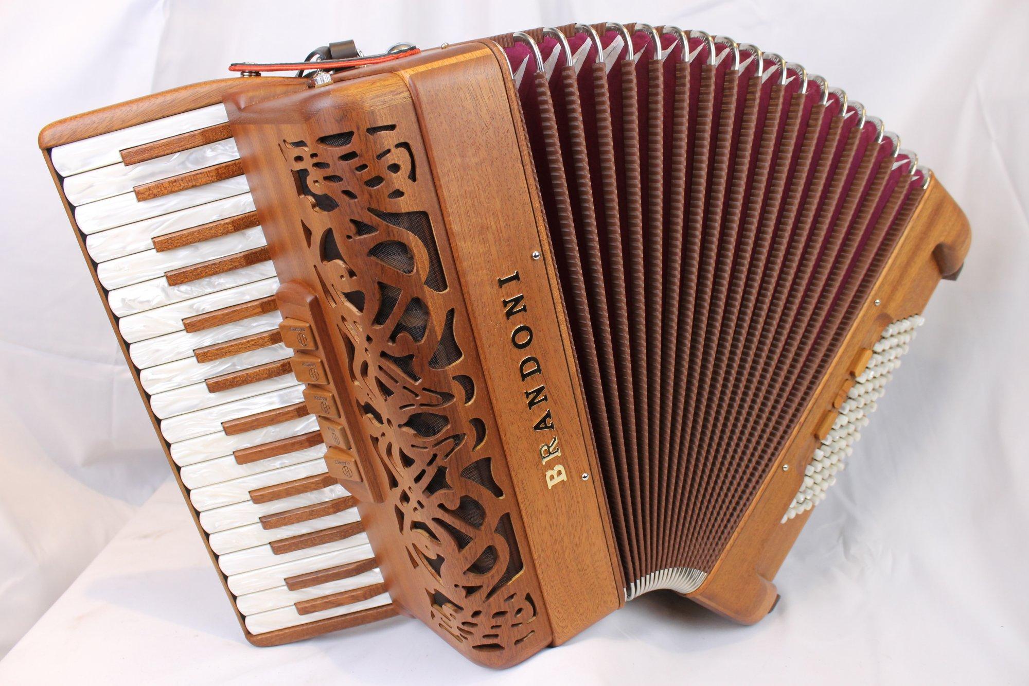 NEW Mahogany Brandoni 66W Piano Accordion LMM 34 78
