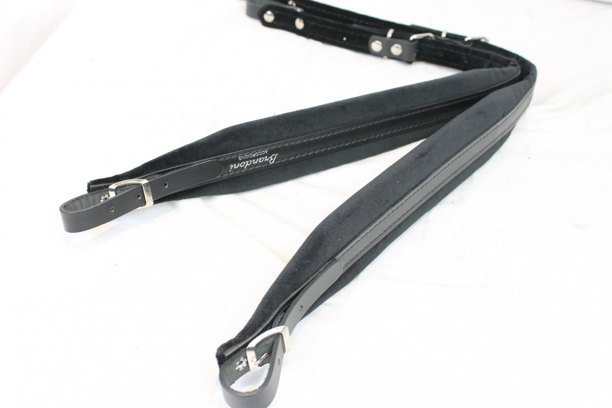 New Black Leather Velour Brandoni Accordion Shoulder Straps Width (5cm / 2in) Length (72~84cm / 28.5~33in)