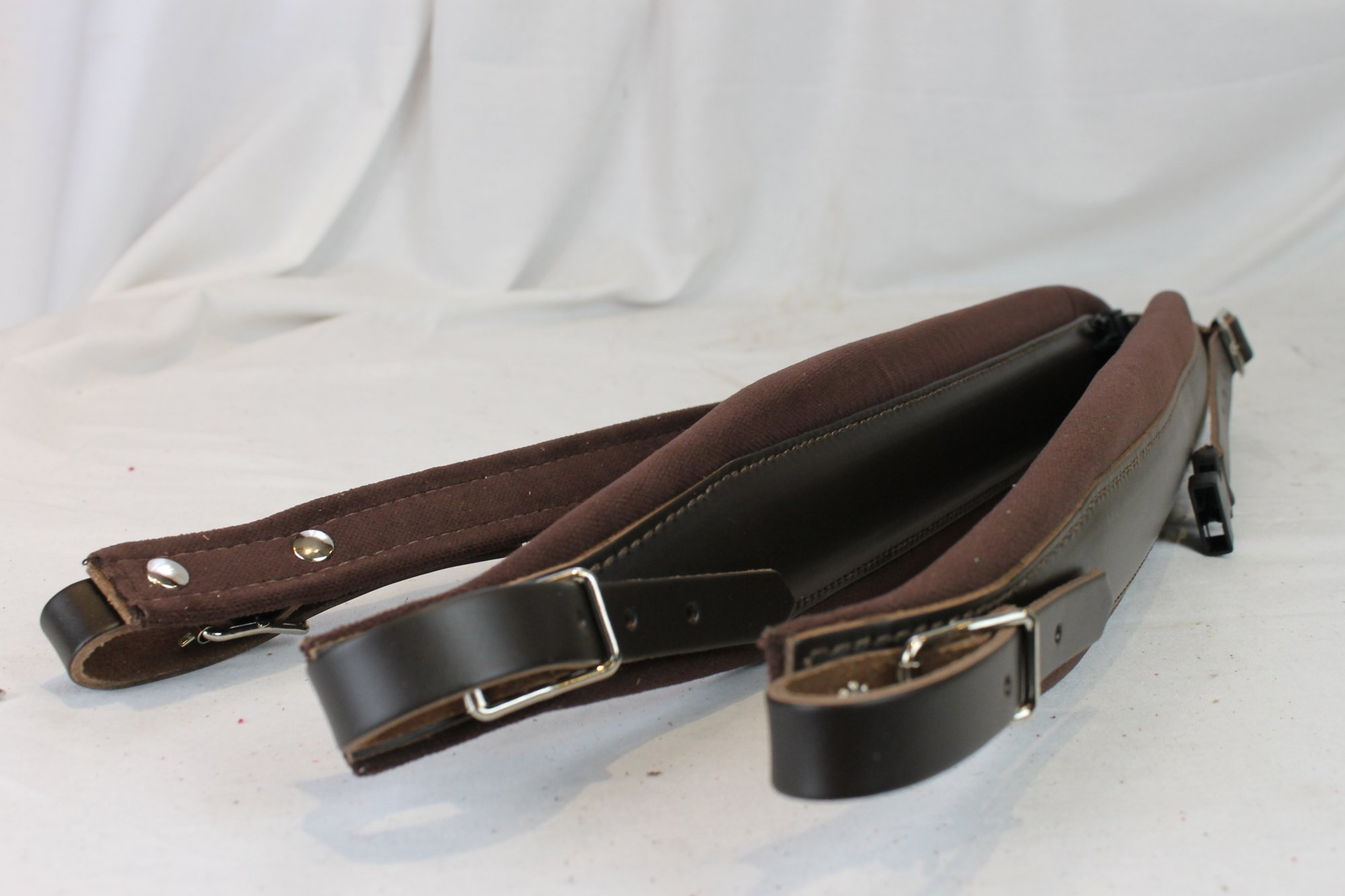 New Brown Leather Velour Fuselli Accordion Shoulder Straps Width (8cm / 3.1in) Length (105~123cm / 41.3~48.4in)