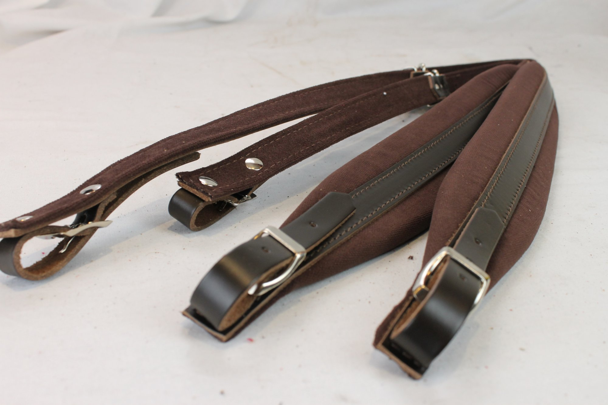 New Brown Leather Velour Fuselli Accordion Shoulder Straps Width (6cm / 2.4in) Length (91~111cm / 35.8~43.7in)