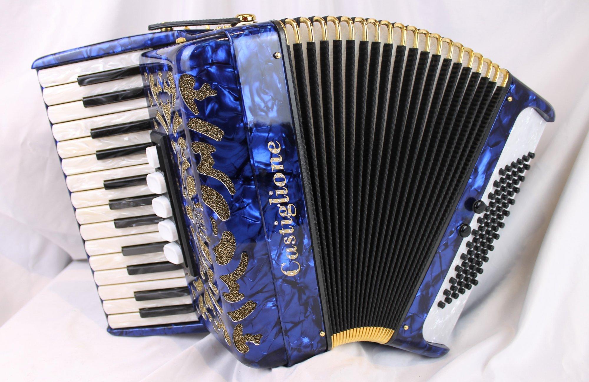 NEW Blue Gold Castiglione Piano Accordion LMM 27 72