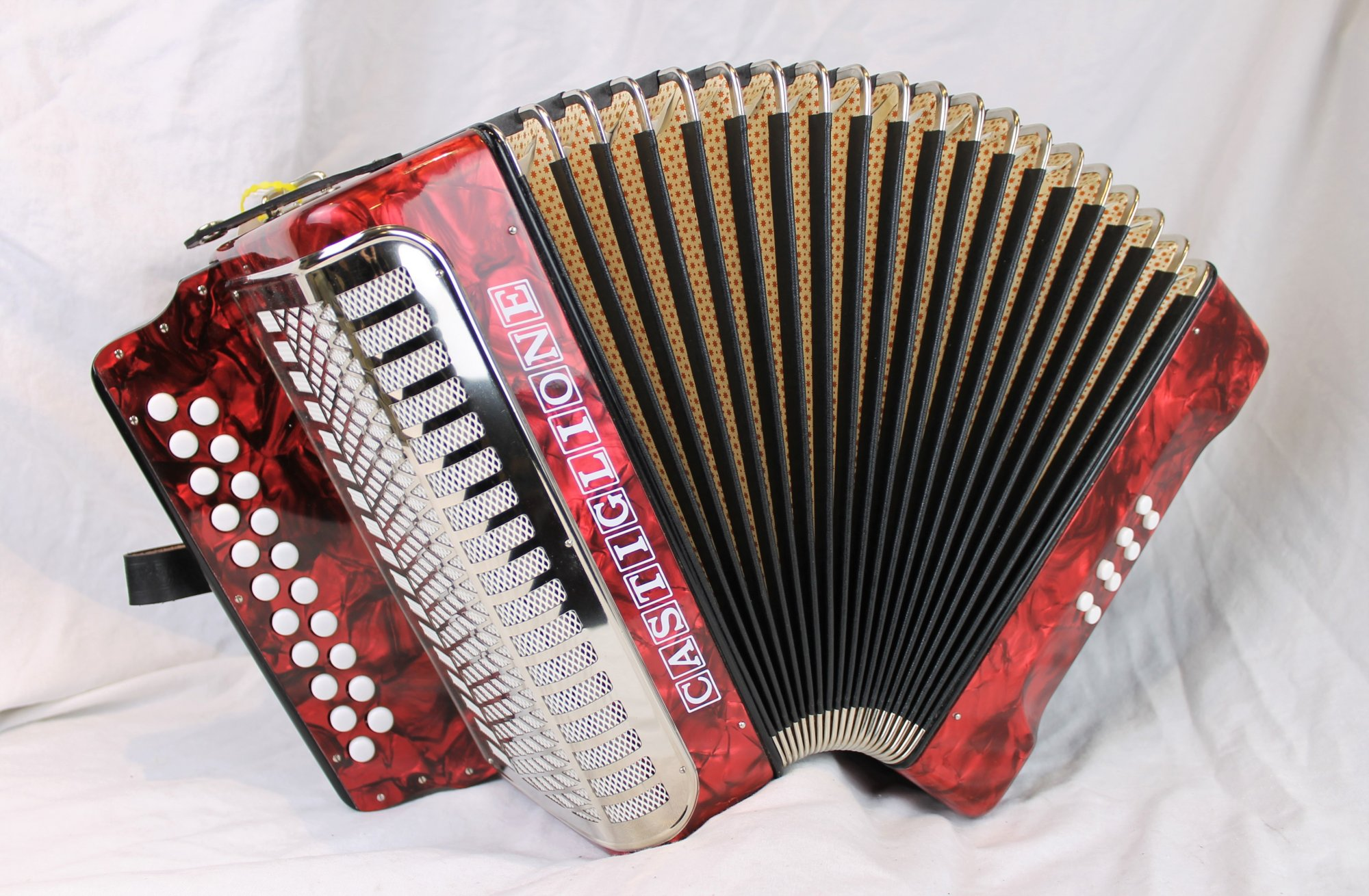NEW Red Castiglione Weltmeister 406 Diatonic Button Accordion CF MM 21 8