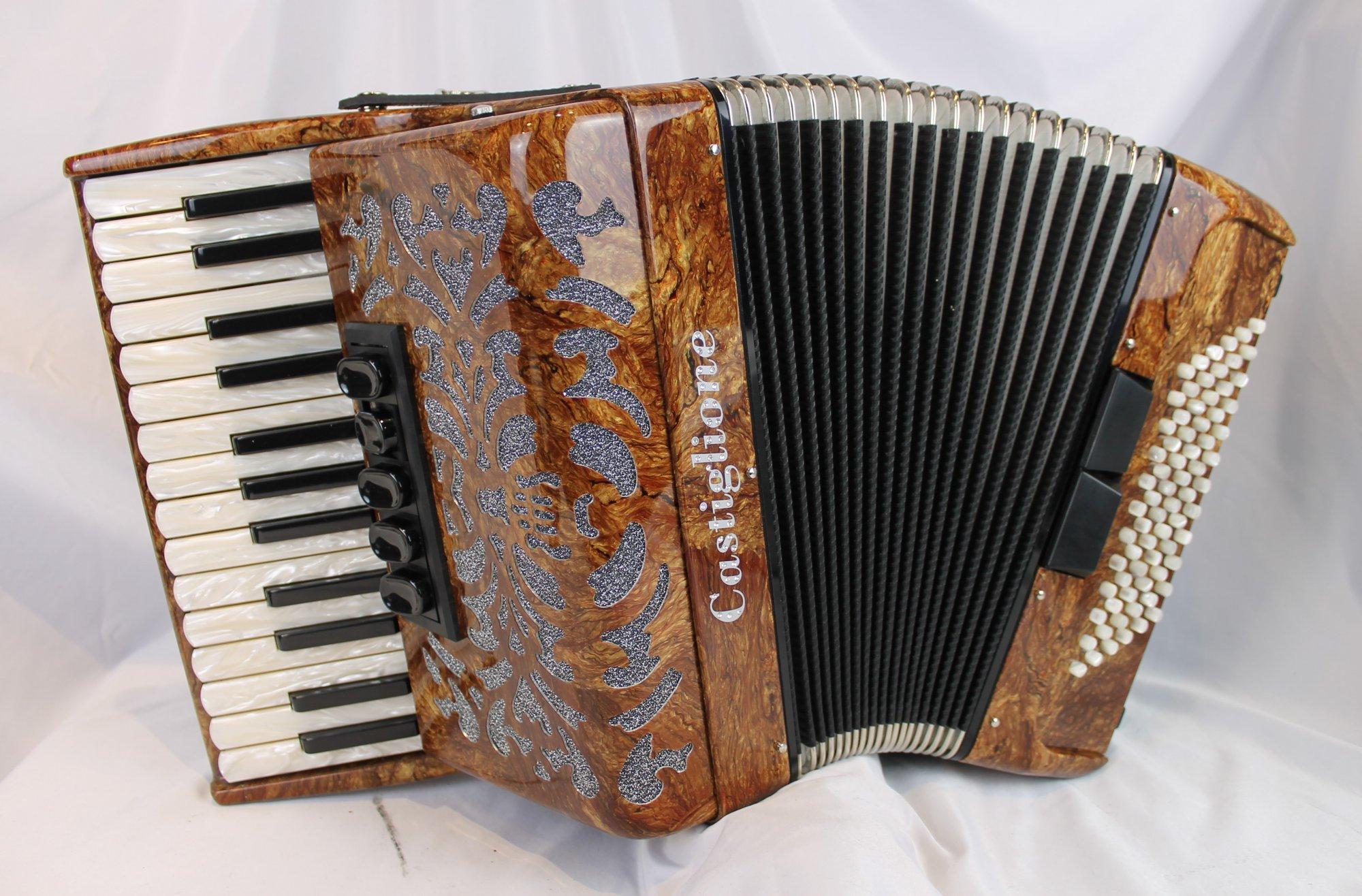 NEW Brown Castiglione Piano Accordion LMM 27 72