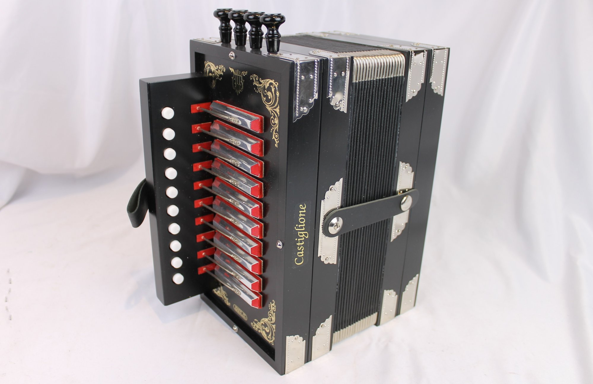 NEW Black Castiglione Weltmeister Cajun Diatonic Button Accordion Melodeon Key of G LMMH 10 2