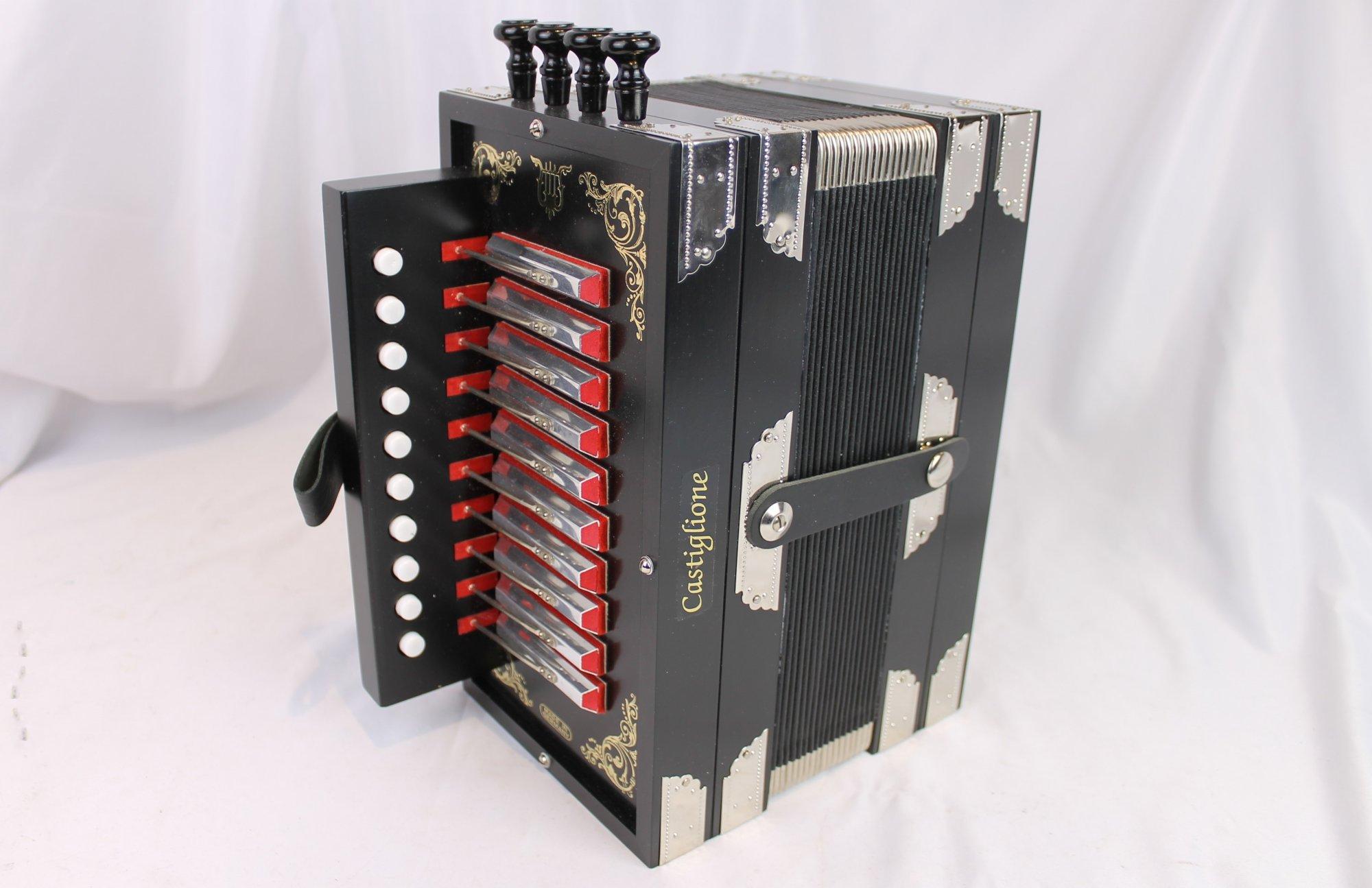 NEW Black Castiglione Diatonic Button Accordion Melodeon G LMMH 10 2