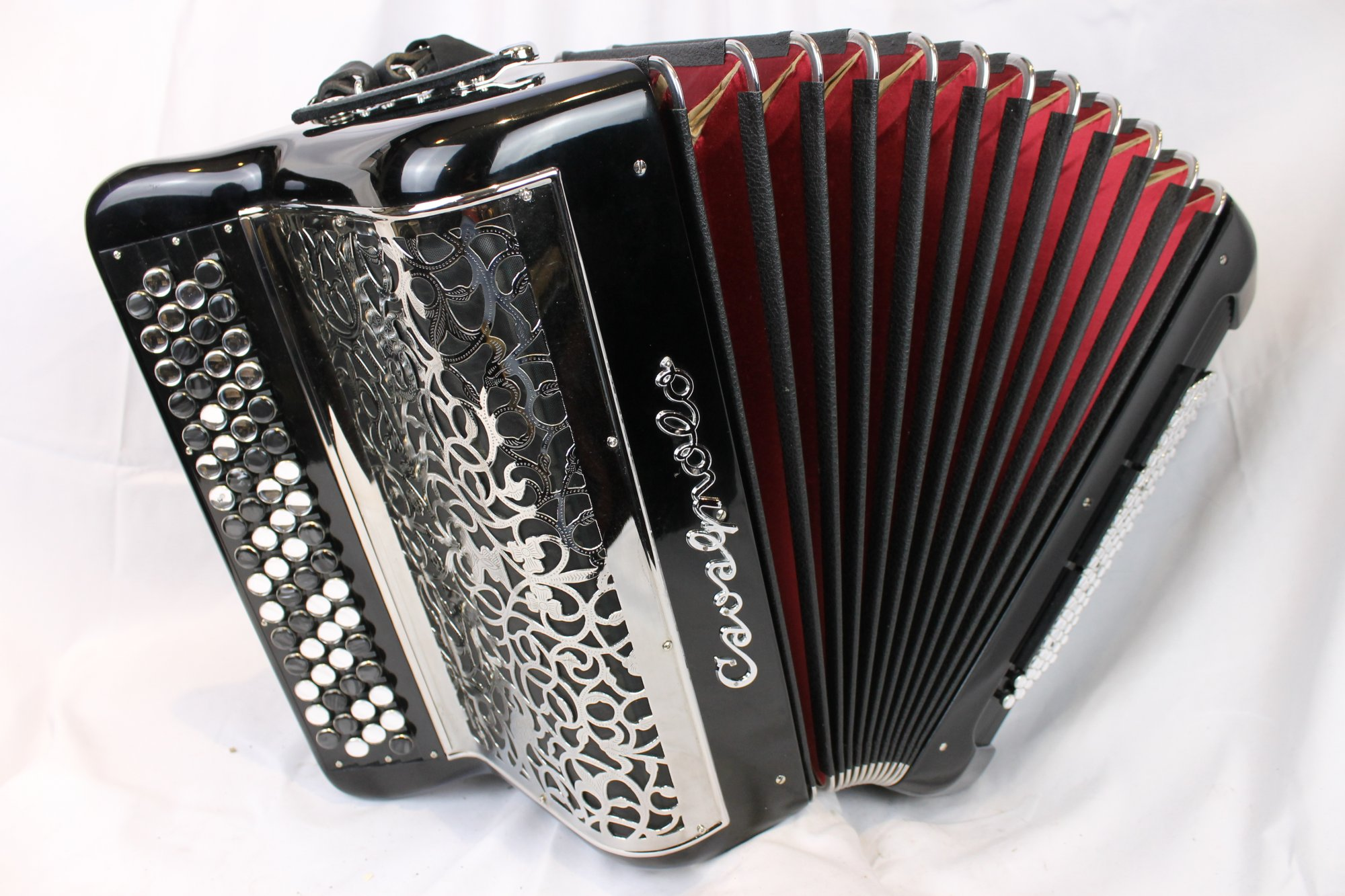 3659 - Like New Black Cavagnolo Chromatic Button Accordion C System LMM 66 96