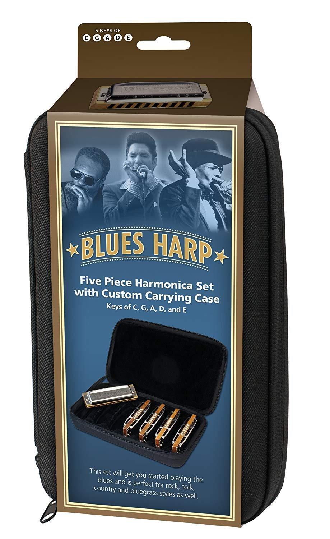 New Hohner Blues Harp 5-Pack Diatonic Harmonica Keys of C G A D E