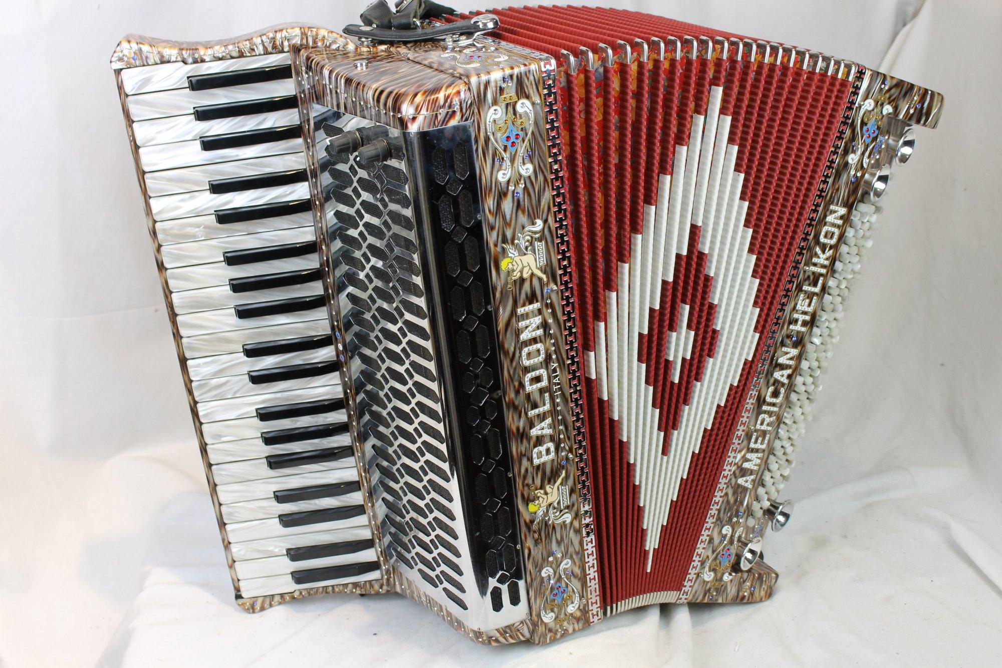 3378 - Decorated Baldoni American Helikon Piano Accordion Mics Midi MMM 41 120