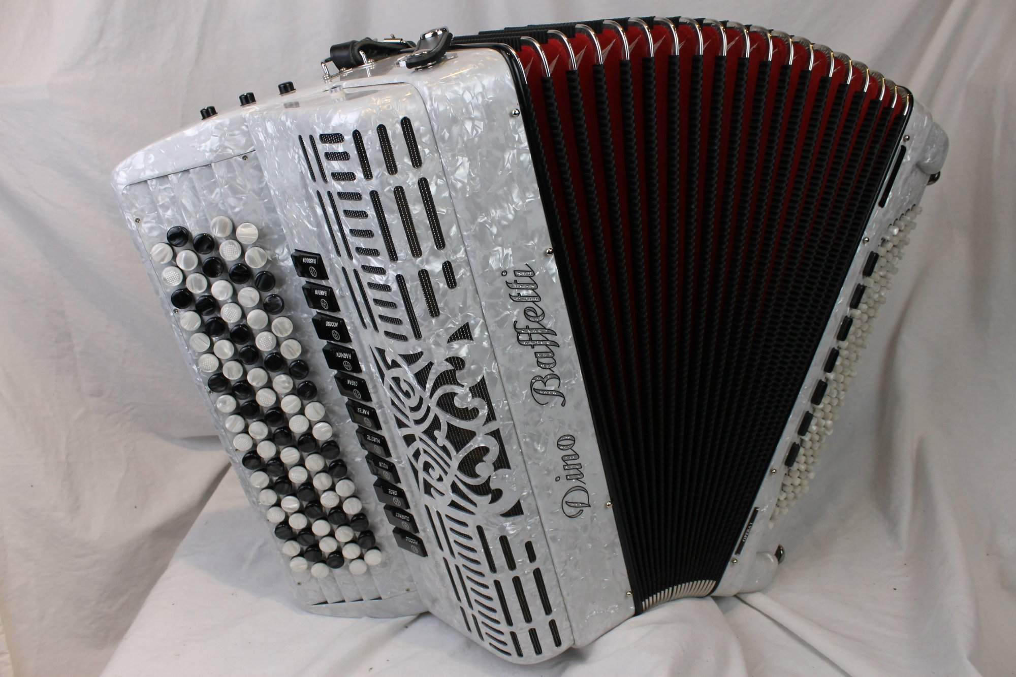 NEW White Dino Baffetti Opera I Chromatic Button Accordion B System LMMH 87 120