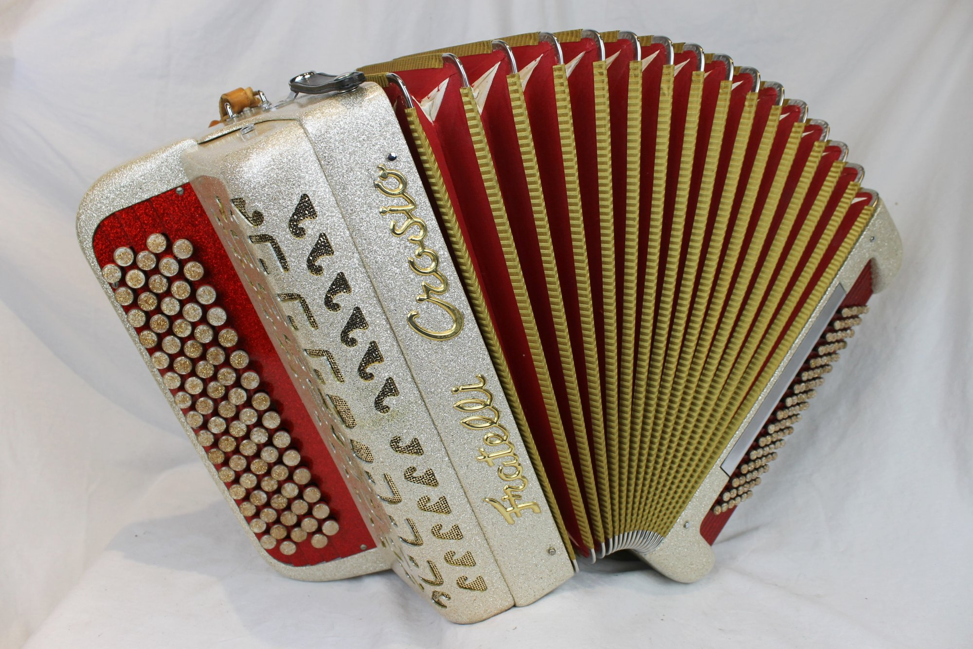 3882 - Gold Sparkle Fratelli Crosio Chromatic Button Accordion C System MMM 77 96