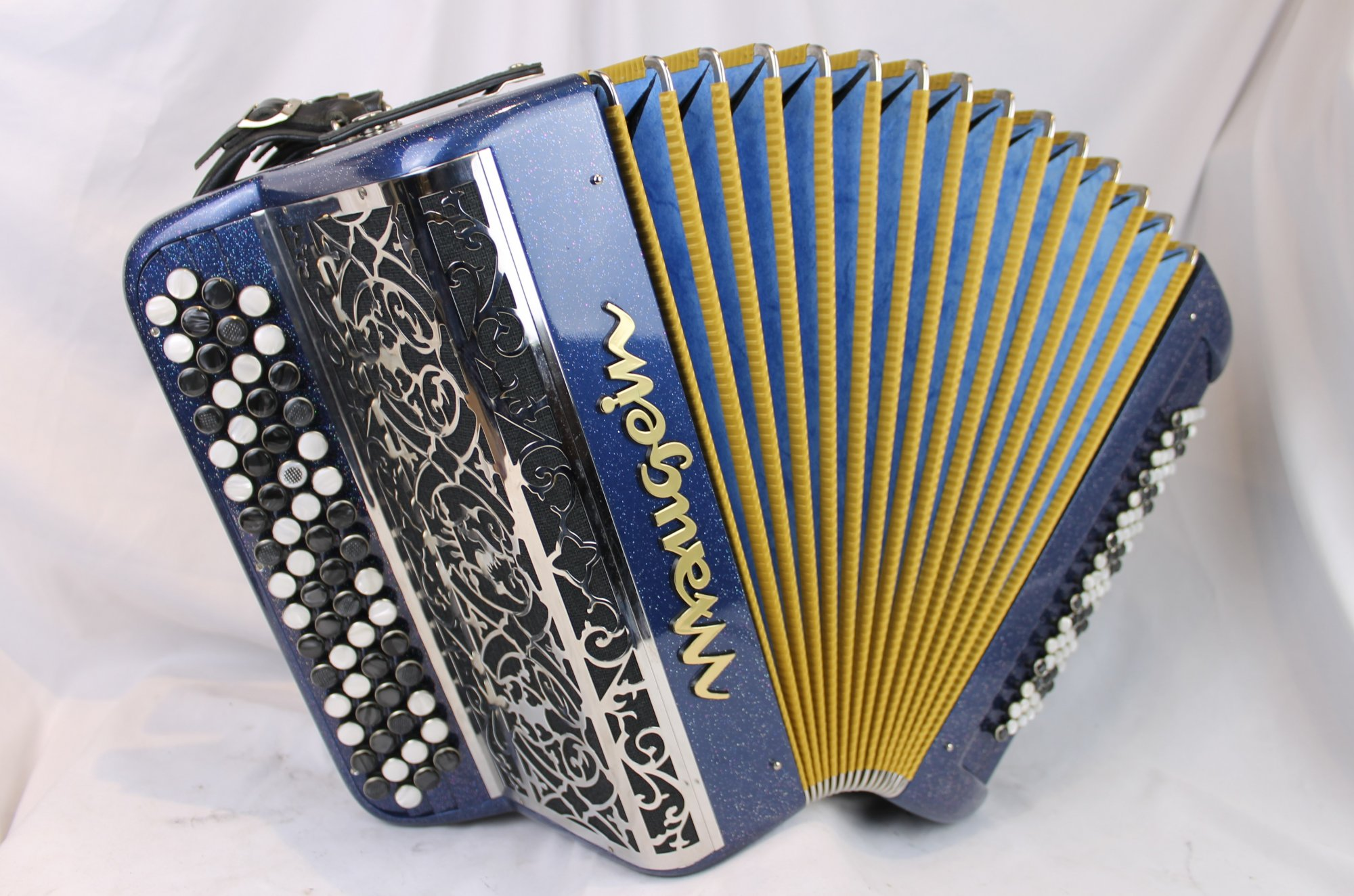 3994 - Blue Sparkle Maugein French C System Chromatic Button Accordion MM 64 80