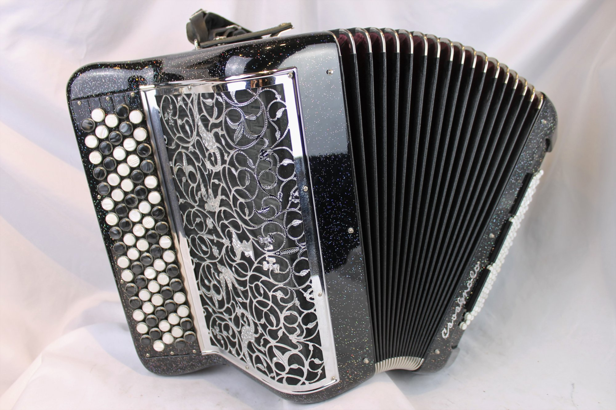 3997 - Black Starlight Cavagnolo Professional 8 Compact Chromatic Button Accordion LMMM 82 96