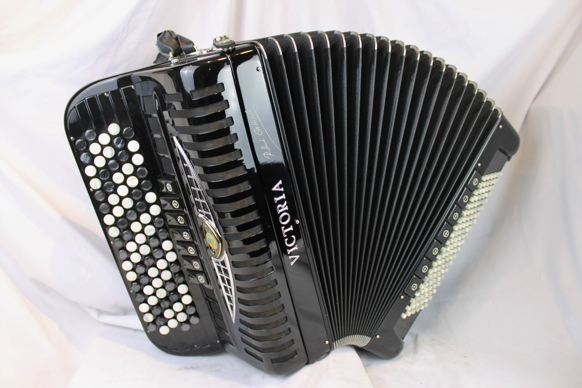 3998 -  Black Victoria Richard Galliano Signature Chromatic Button Accordion C System 87 120