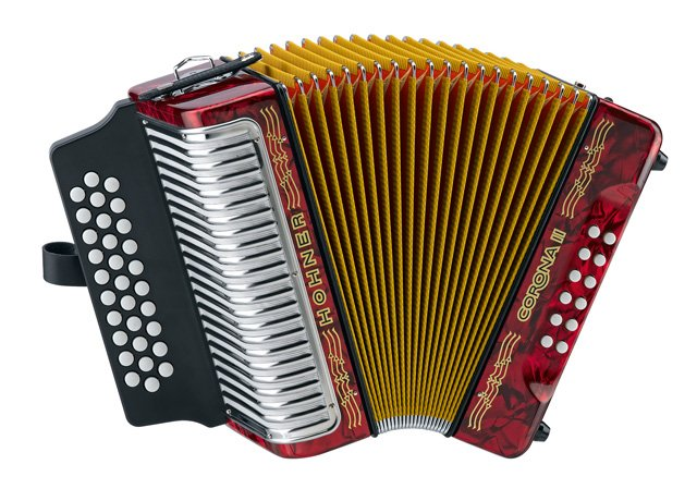 NEW Red Hohner Corona II 3500 Diatonic Button Accordion GCF Sol MM 31 12