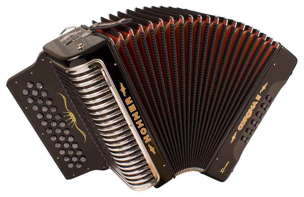 NEW Black Hohner Corona II Extreme Button Accordion La ADG 34 12