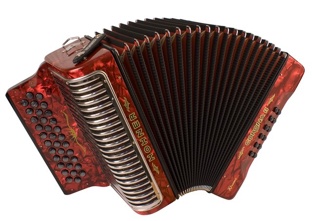NEW Red Hohner Corona II Extreme Button Accordion BbEbAb 34 12