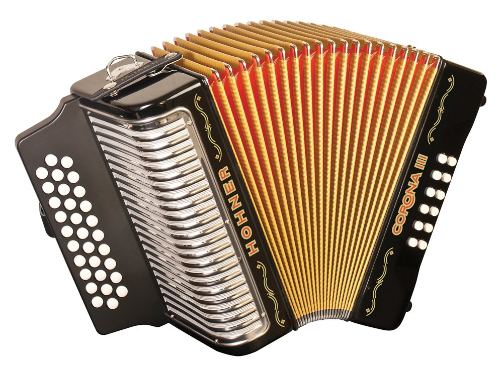 NEW Black Hohner Corona III Button Accordion GCF Sol 31 12