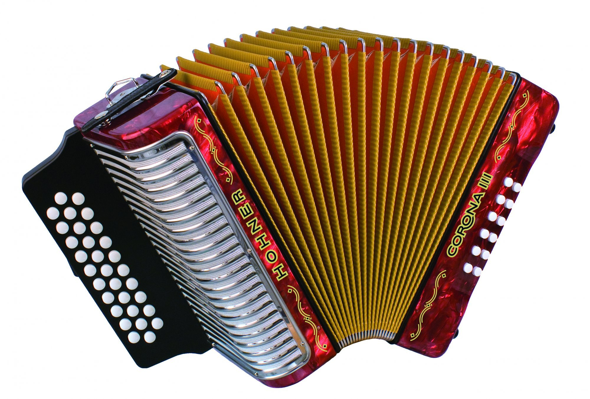 Pearl Red Hohner Piano Accordion Bravo III 96 with Gig Bag /& Straps