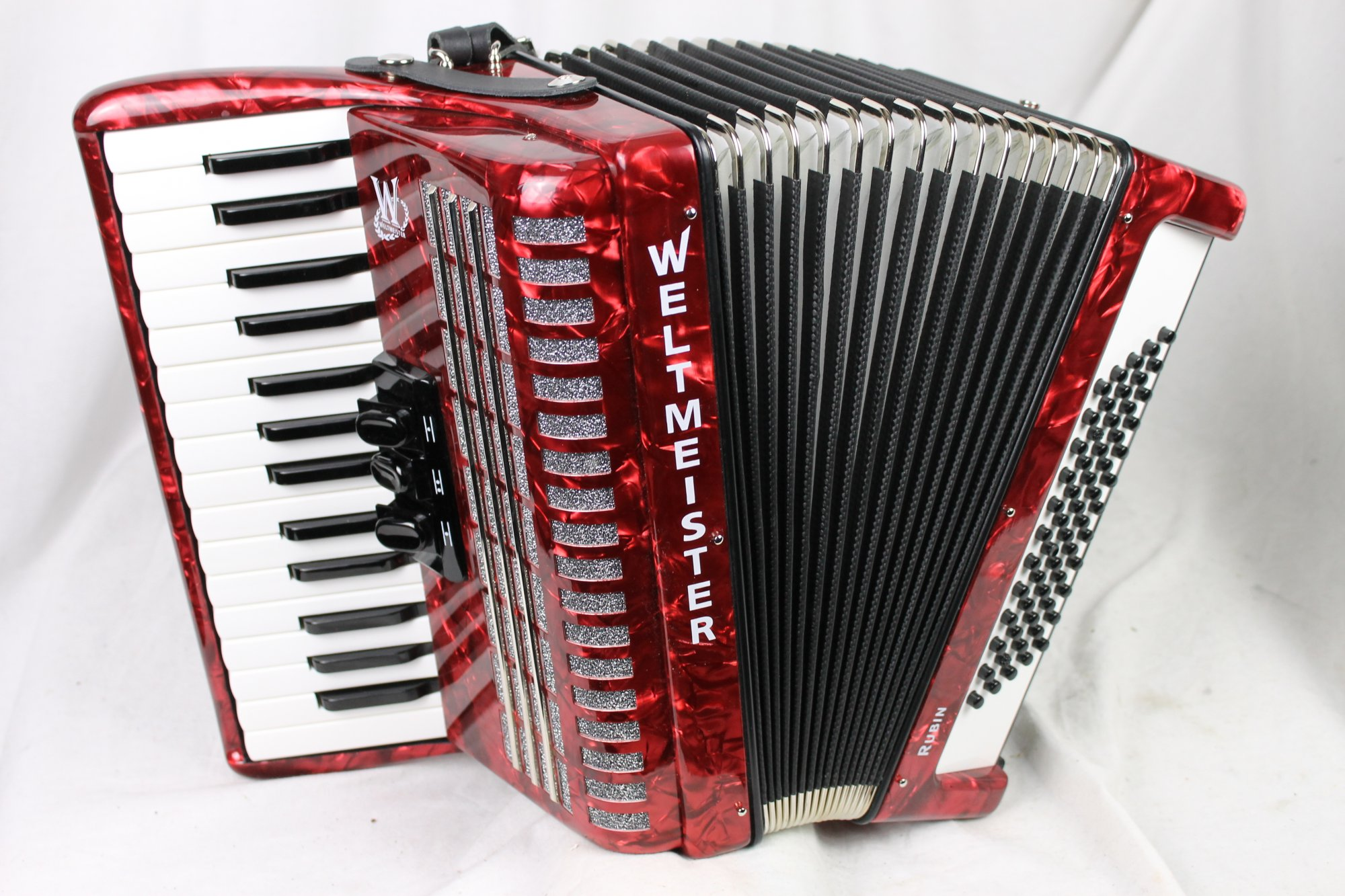 3338 - Certified Pre-Owned Red Weltmeister Rubin Piano Accordion MM 30 60