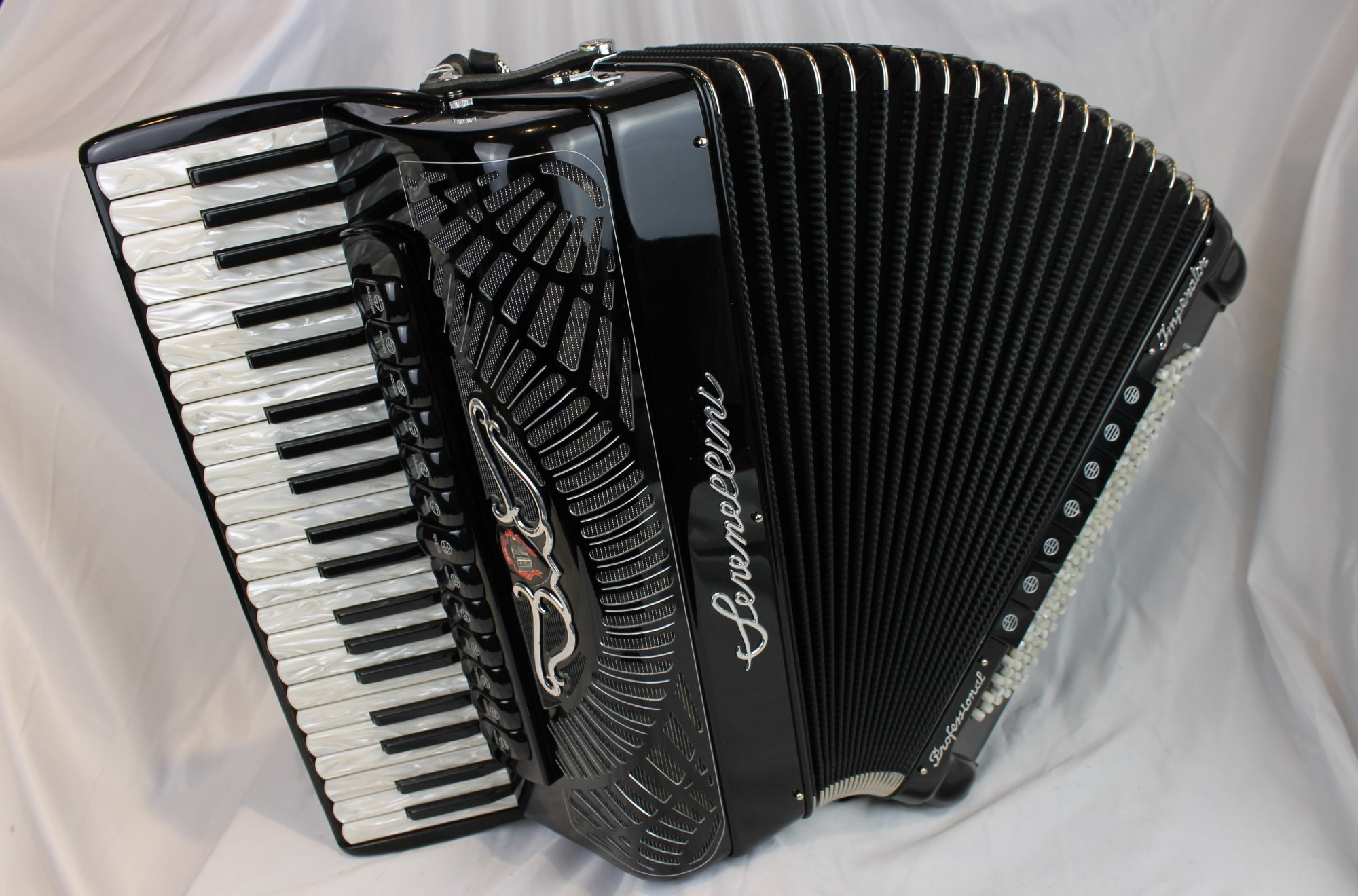 3905 - Certified Pre-Owned Black Serenellini Imperator IV Silver Piano Accordion LMMH 41 120