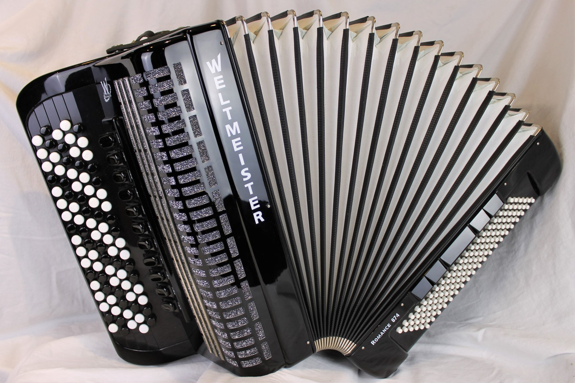 4877 - Certified Pre-Owned Black Weltmeister Romance 874 Chromatic Button Accordion B System LMMH 87 120