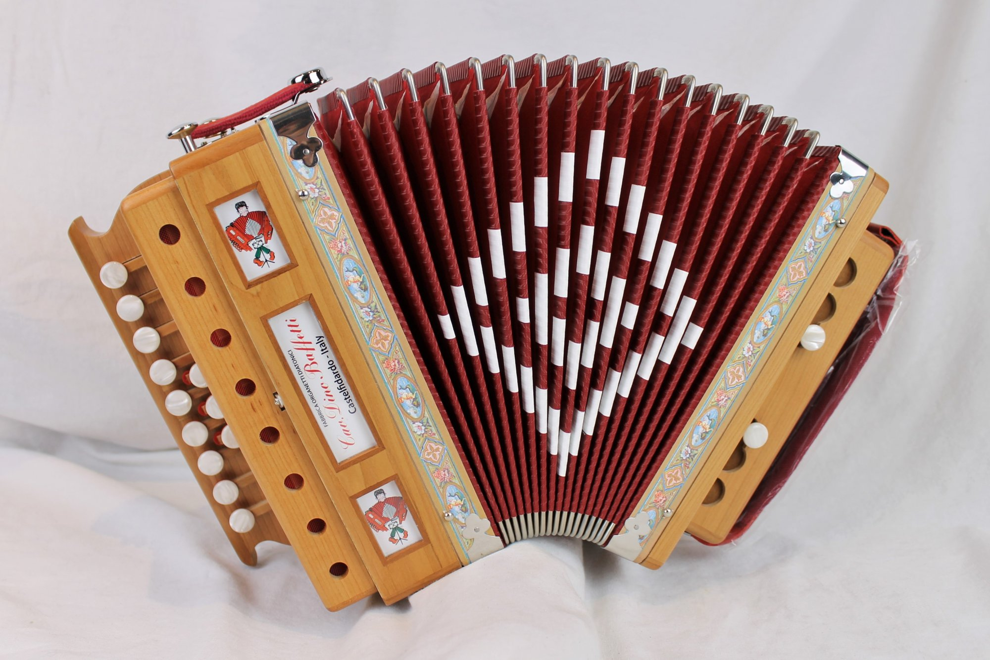 NEW Cherry Dino Baffetti Art. 25 Organetto Diatonic Button Accordion G LMM 12 2