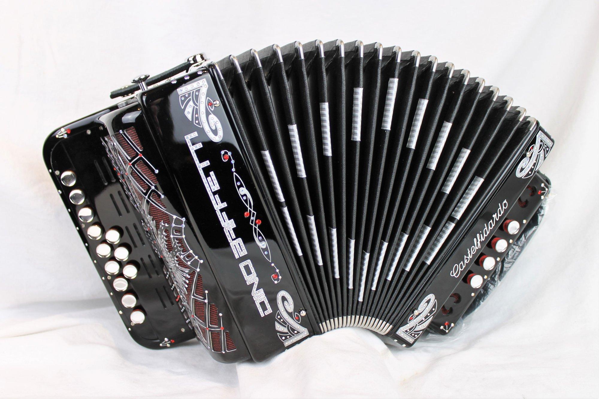 NEW Black Dino Baffetti Art. 41 Luxe Organetto Diatonic Button Accordion C LMM 12 4