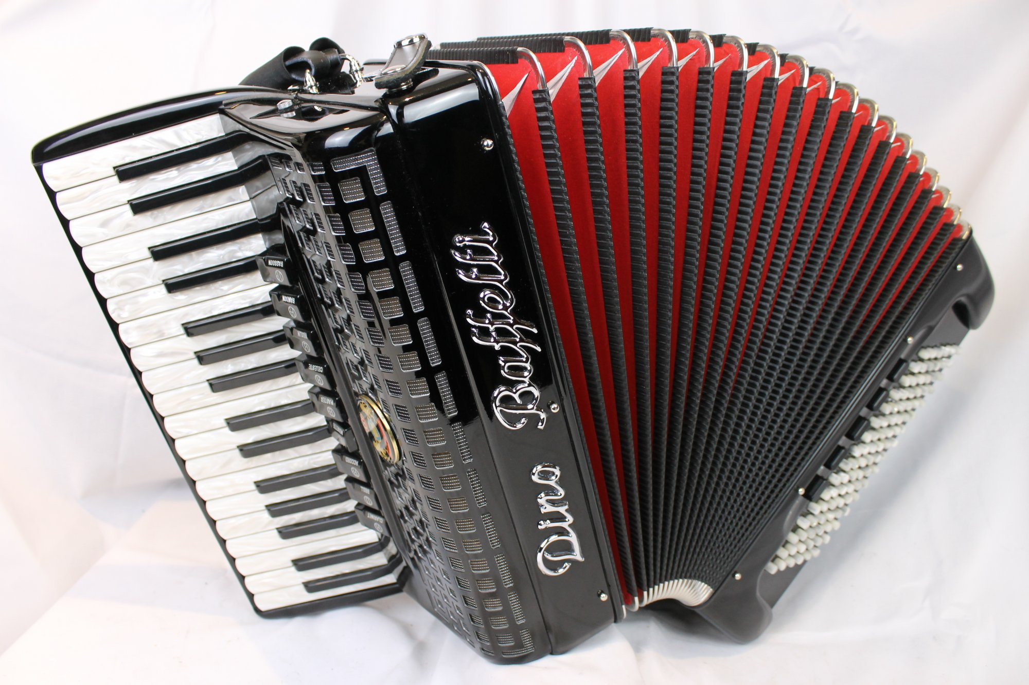 4642 - Black Dino Baffetti Studio IIA Piano Accordion LMMM 34 96