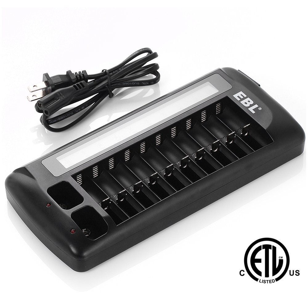 NEW EBL 12 Bay LCD AA AAA 9V Battery Charger For Rechargeable Batteries