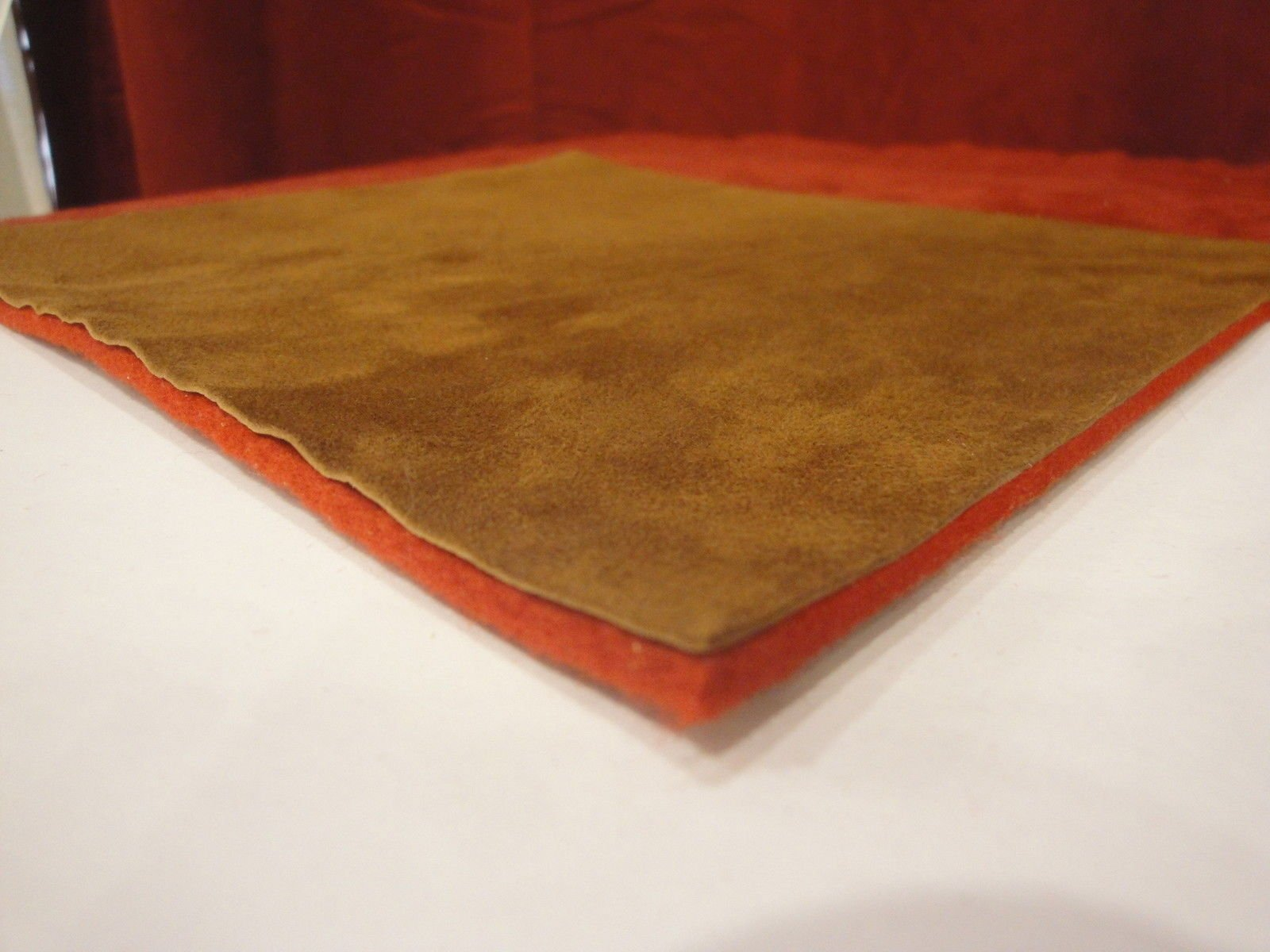 New Accordion Part - Combination Pad Material 6x3  Red Felt (5mm) and Brown Suede (1mm)