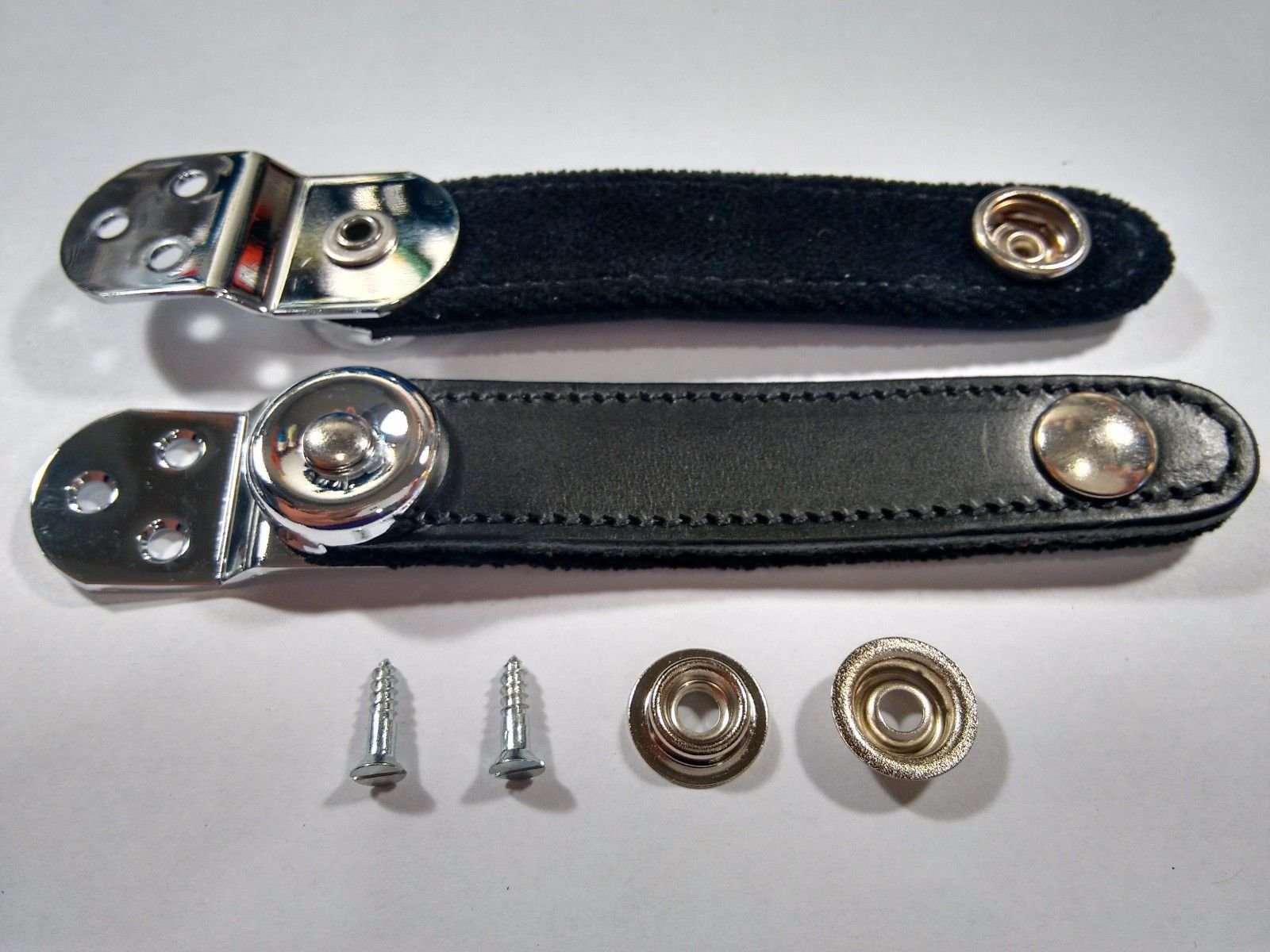 NEW Black Fuselli Leather Accordion Bellows Clasps Chrome