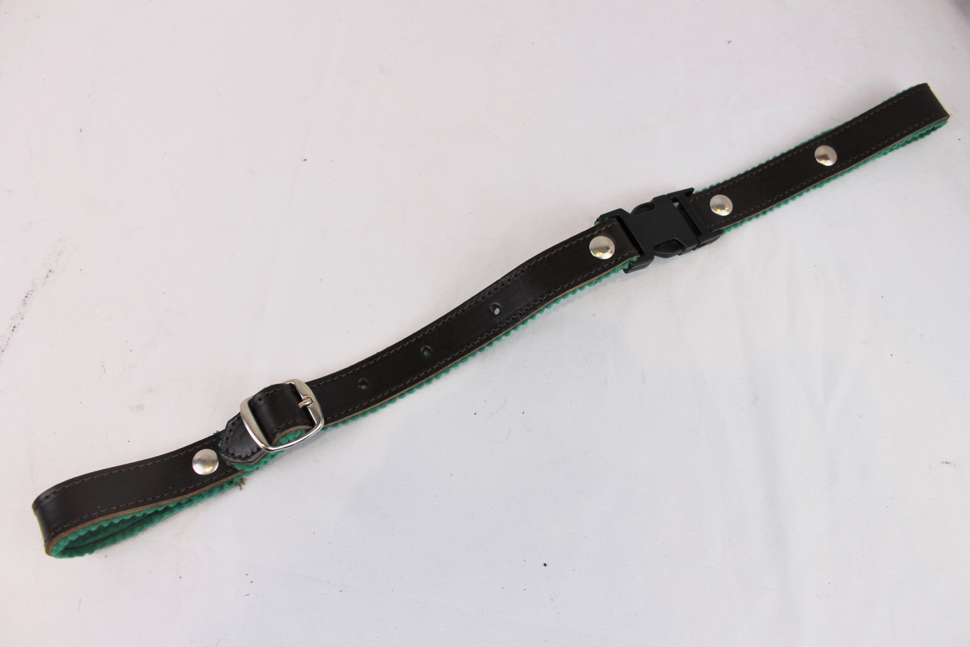 NEW Brown Fuselli Green Felt Lined Leather Back Strap  - Adjustable 13.5 to 17.5