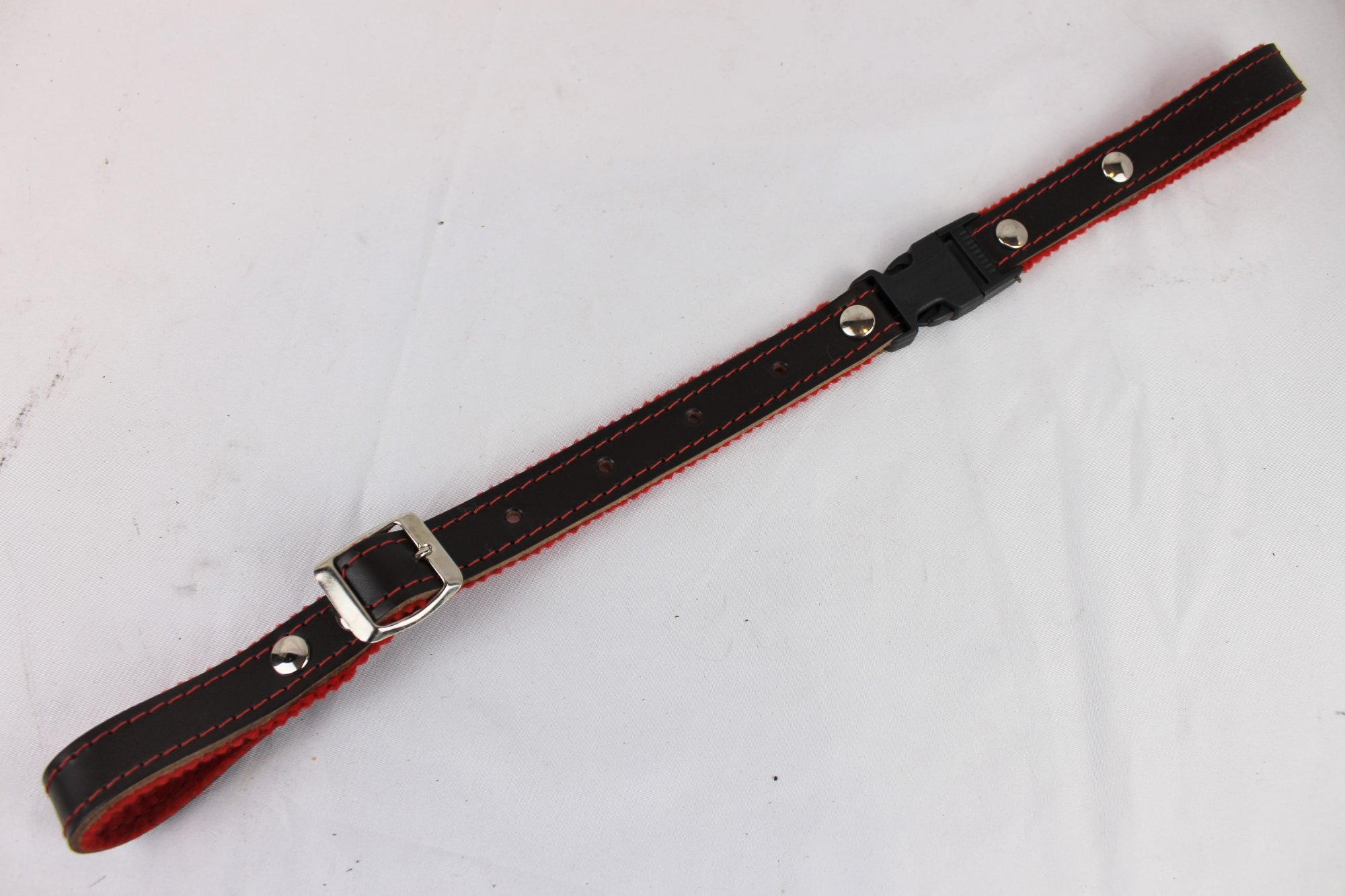 NEW Brown Fuselli Red Felt Lined Leather Back Strap  - Adjustable 13 to 17.5
