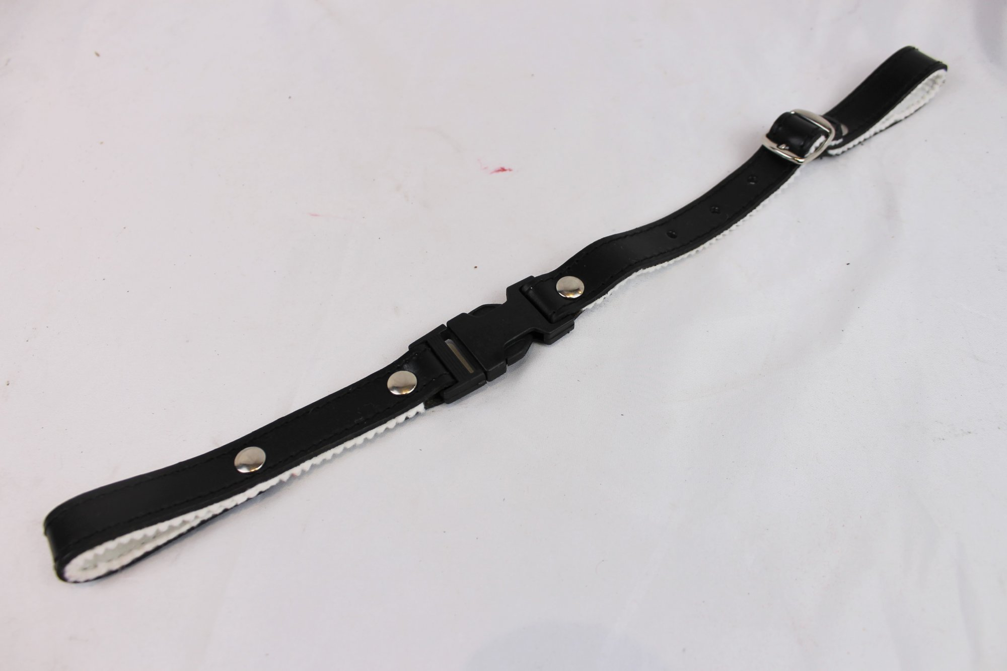 NEW Black Fuselli White Felt Lined Leather Back Strap  - Adjustable 14 to 16.5