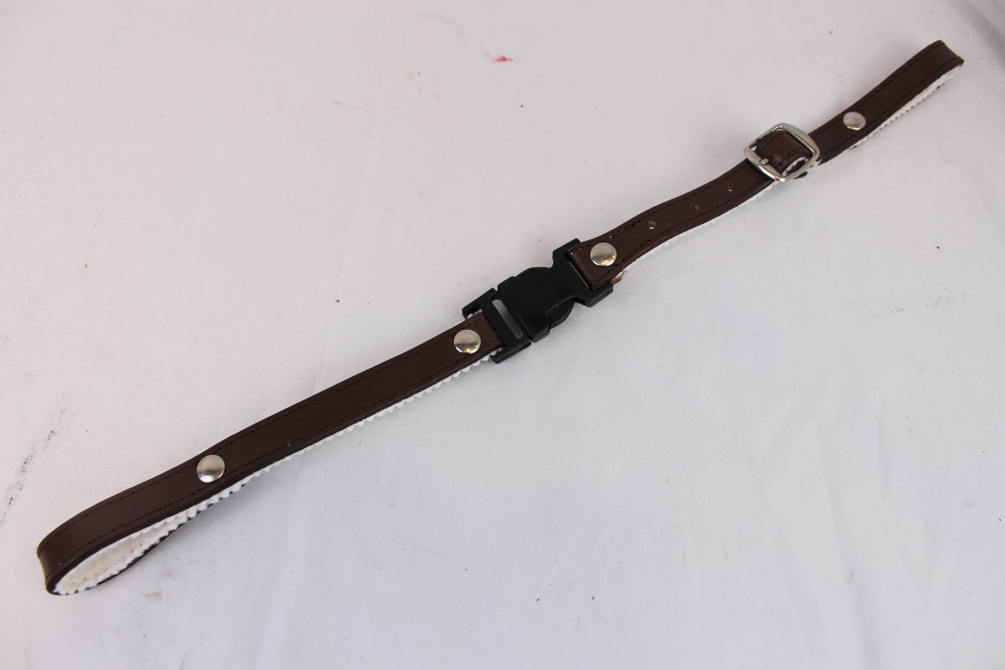 NEW Brown Fuselli White Felt Lined Leather Back Strap  - Adjustable 15 to 18