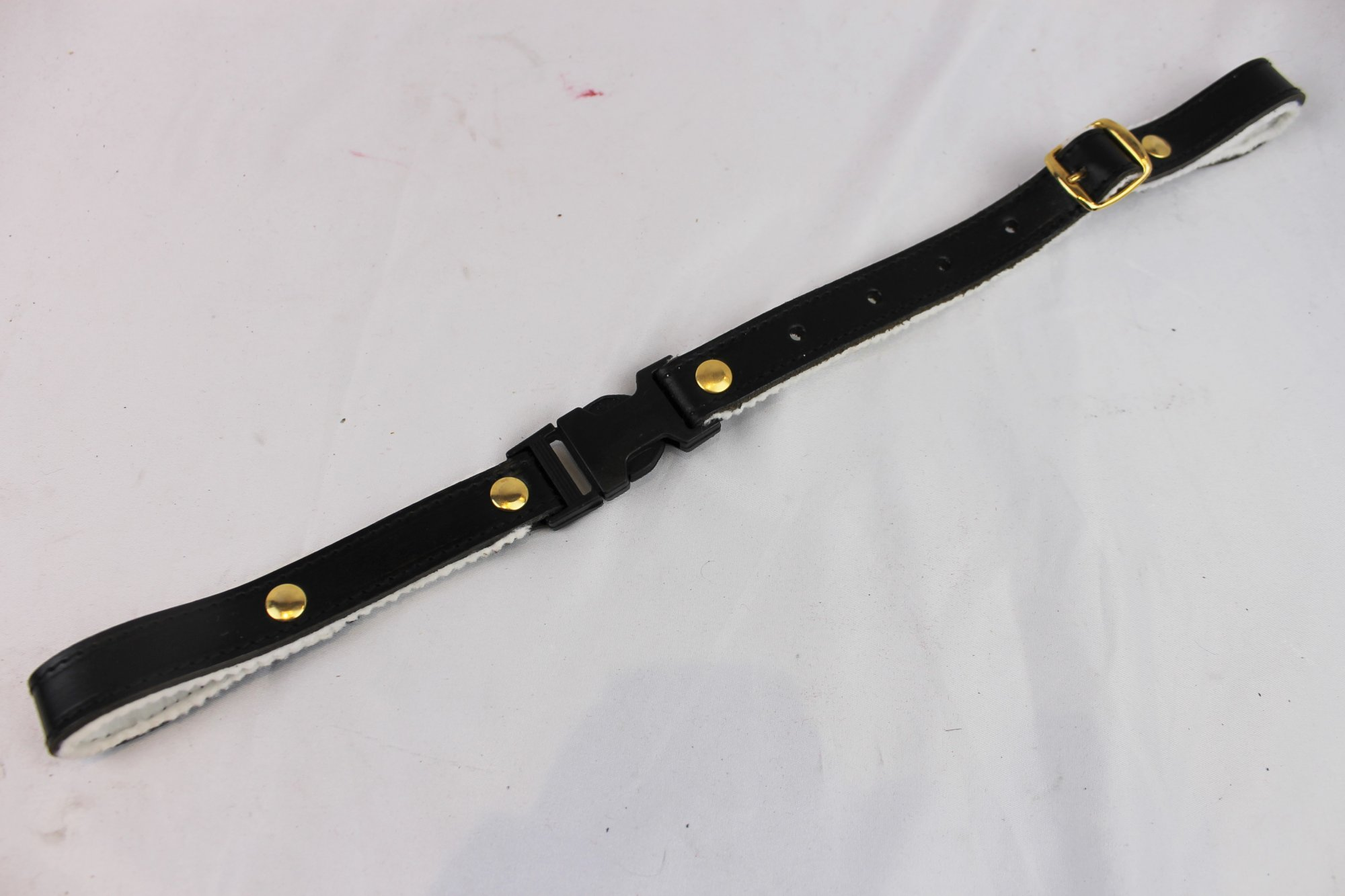 NEW Black Fuselli White Felt Lined Leather Back Strap  - Adjustable 14 to 16.5 Gold Hardware