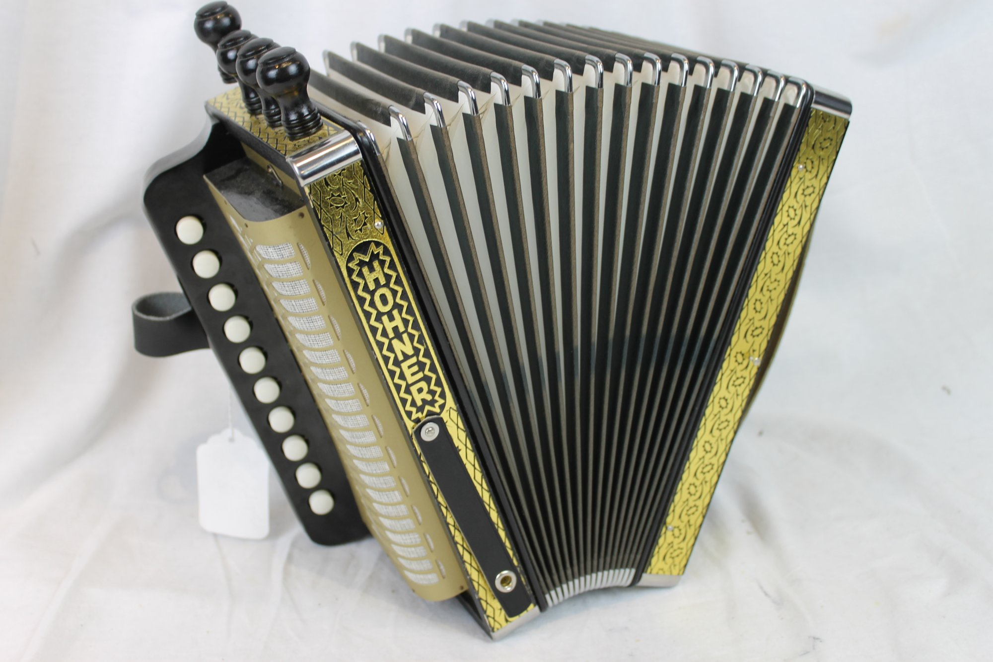 NEW Black Gold Hohner HA-114 Cajun Diatonic Button Accordion Key of C LMMH 10 2