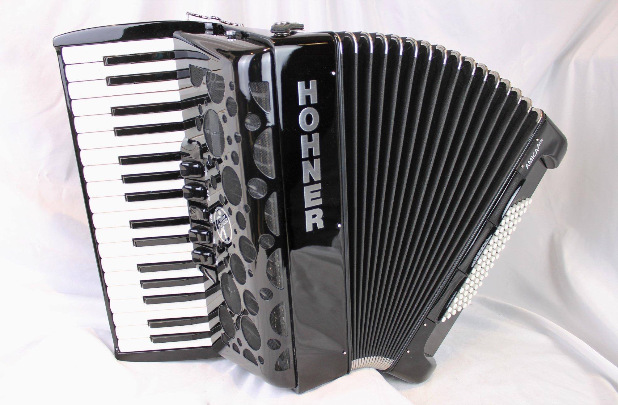 NEW Black Hohner Amica III Forte Piano Accordion LMM 34 72