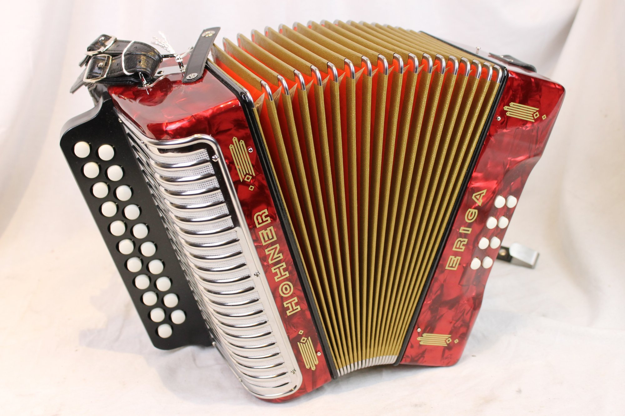4239 - Red Hohner Erica Diatonic Button Accordion AD MM 21 8