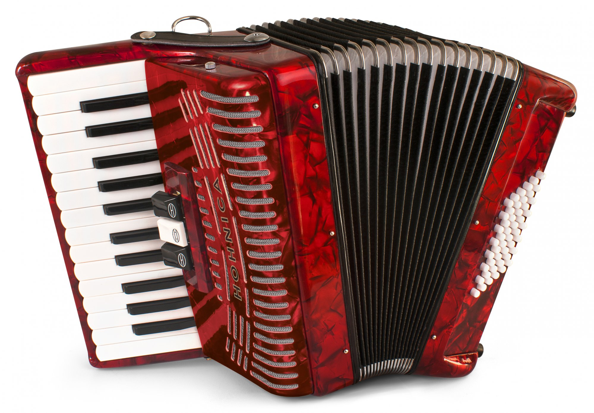 New Red Hohner Hohnica 1304-RED Piano Accordion MM 26 48