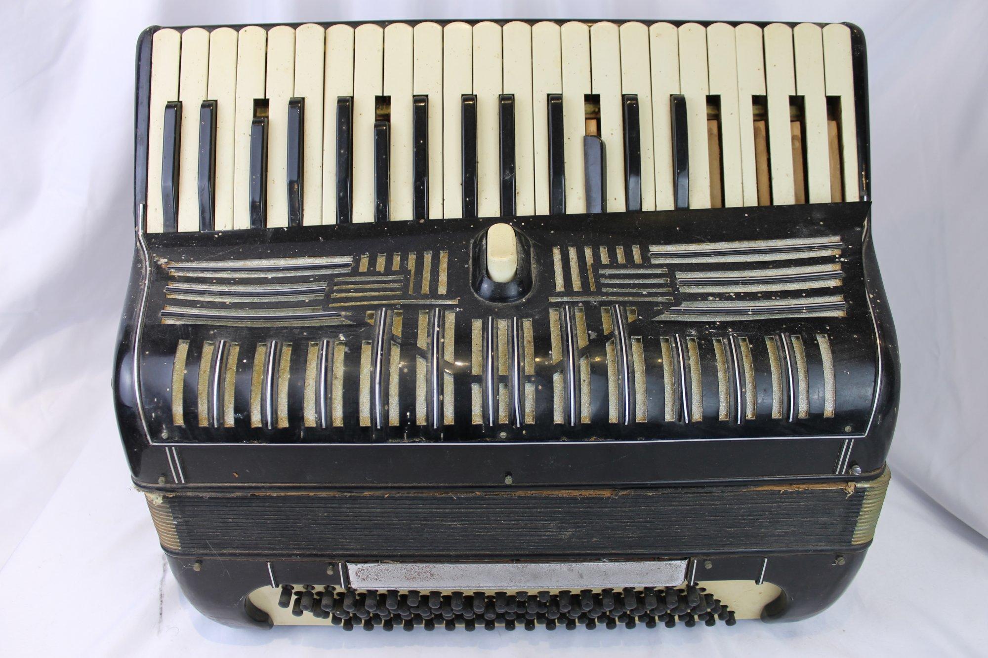 4564 - Black Piano Accordion LMM 41 120 - For Parts or Repair
