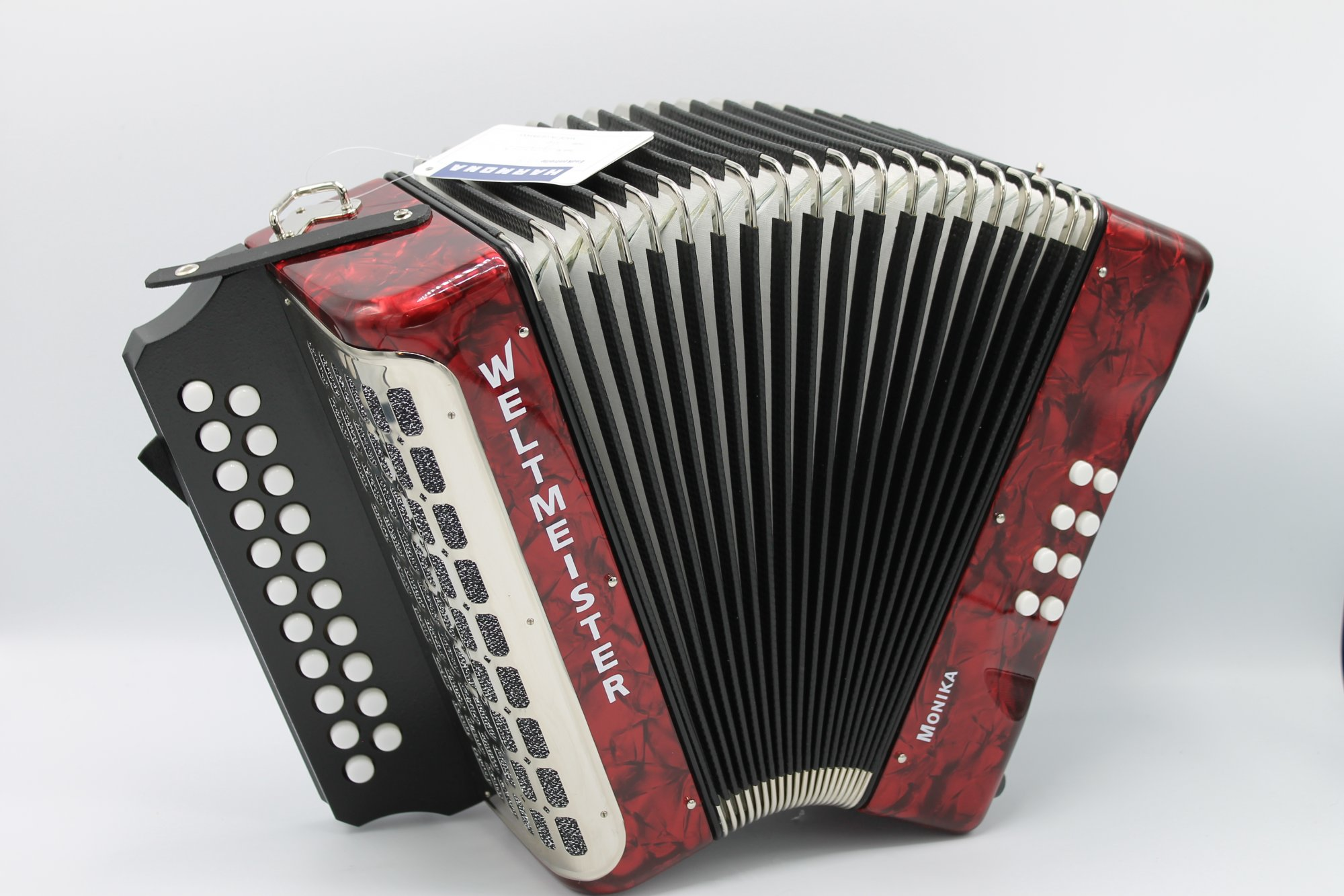 NEW Red Weltmeister 406 Monika Diatonic Button Accordion GC MM 21 8
